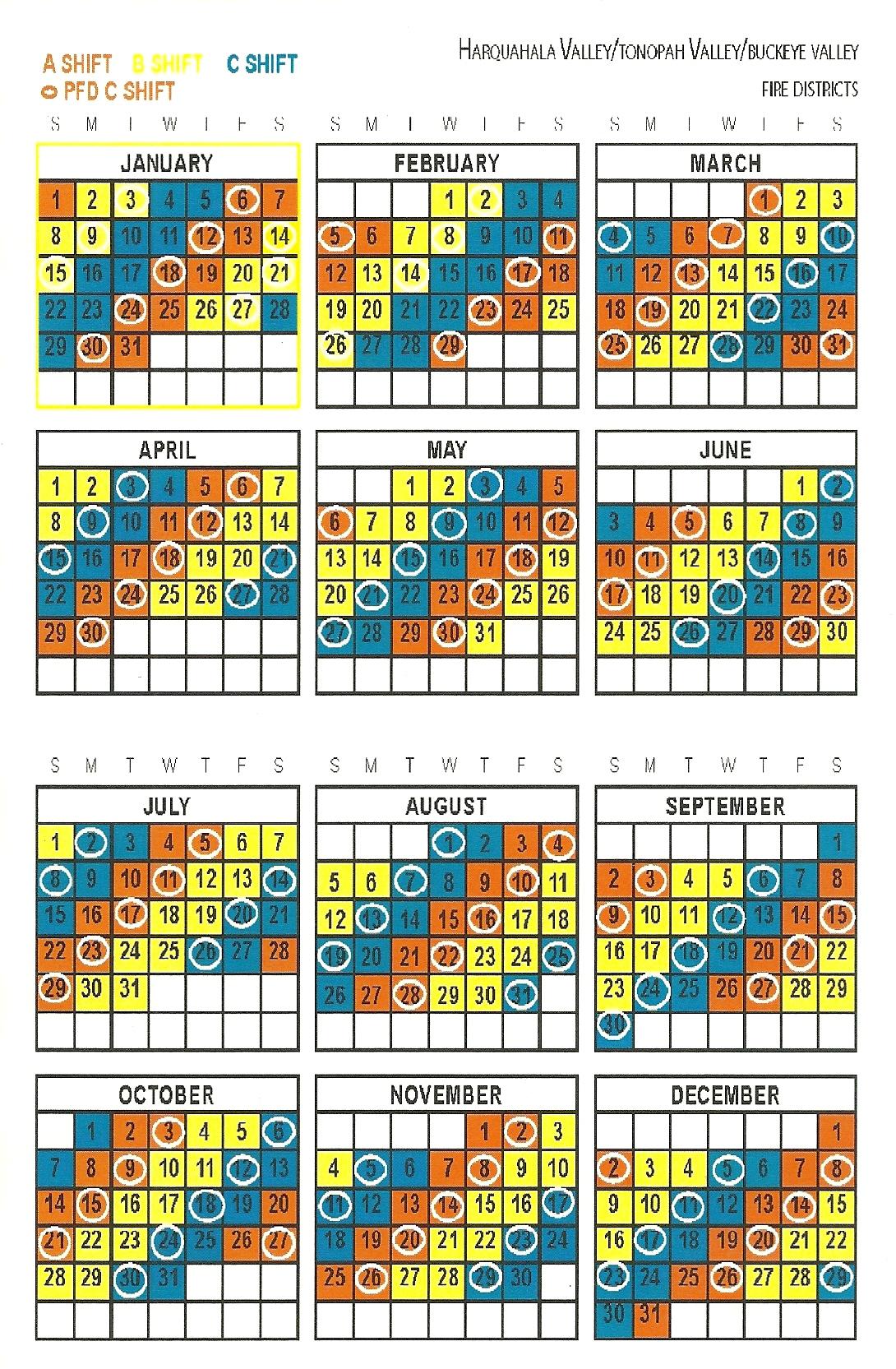 Firefighter 24/96 Shift Calendars | Calendar Template