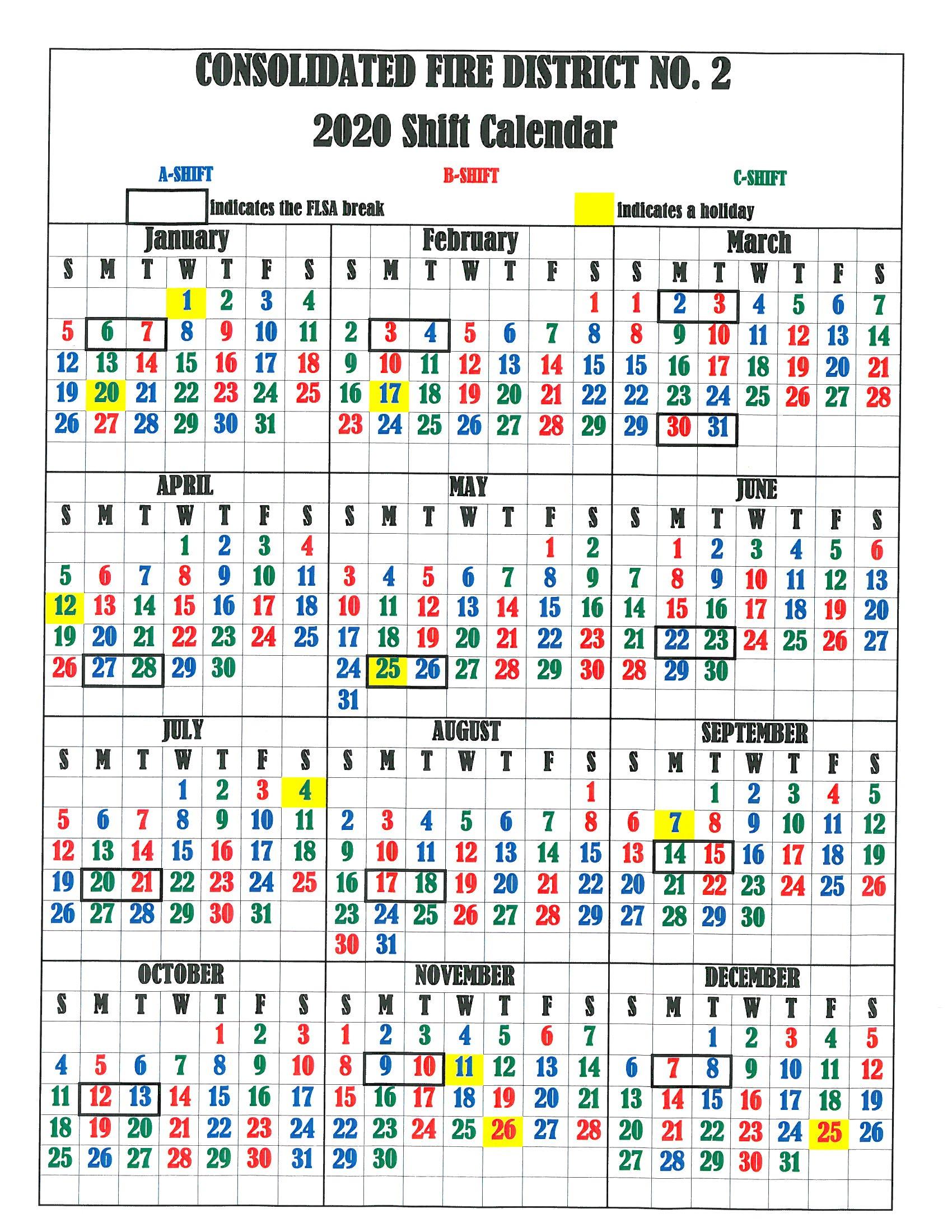 Firefighter Shift Calendar 2020 Printable   Example