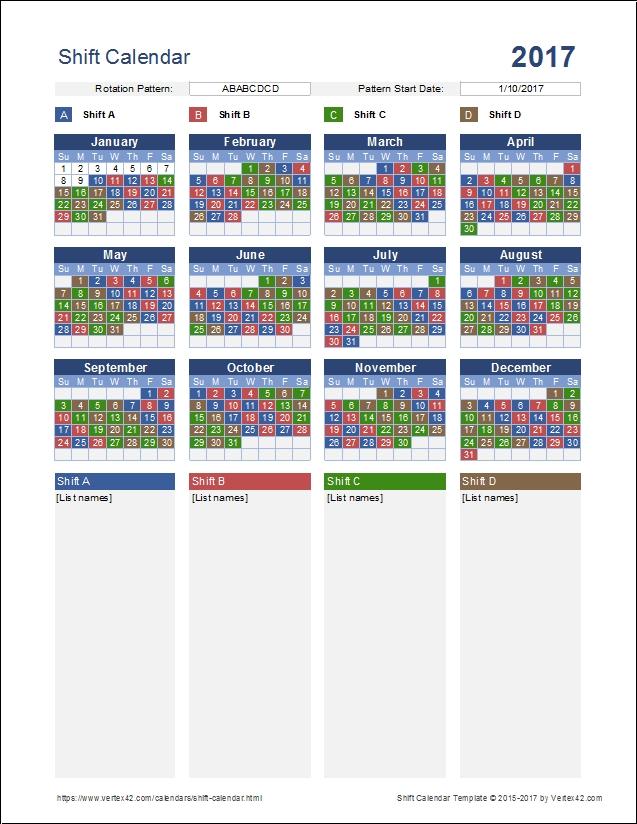 Firefighter Shift Calendar Print :-Free Calendar Template