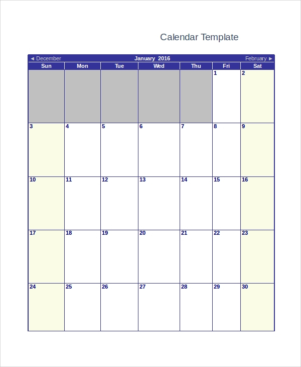 Free 13+ Sample Blank Monthly Calendar Templates In Pdf
