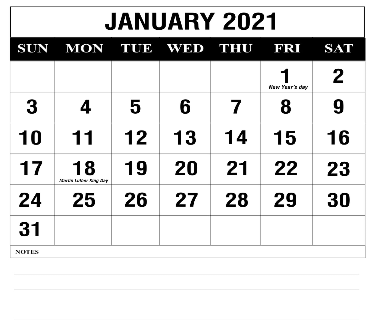 Free 2021 Calendar Monthly With Lines Printable Pdf   Ten