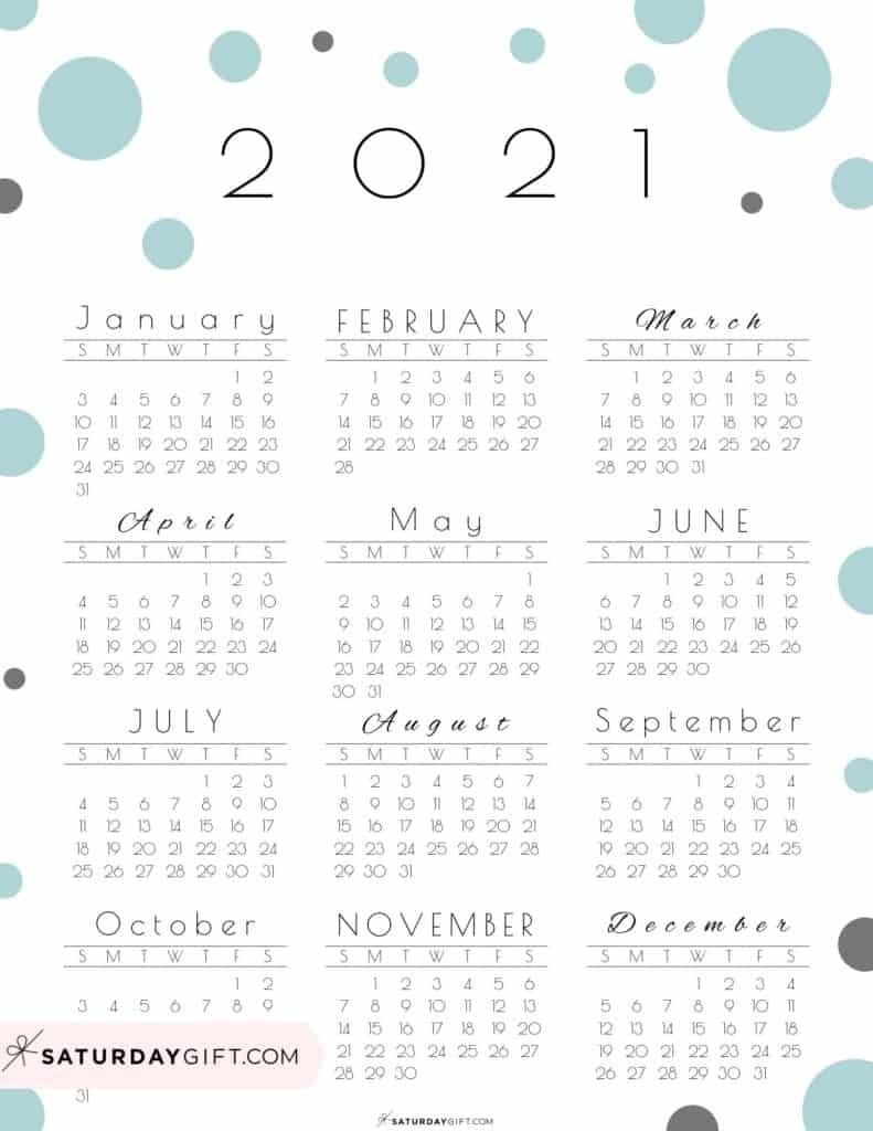 Free 2021 Year At A Glance Calendar   Calendar Template