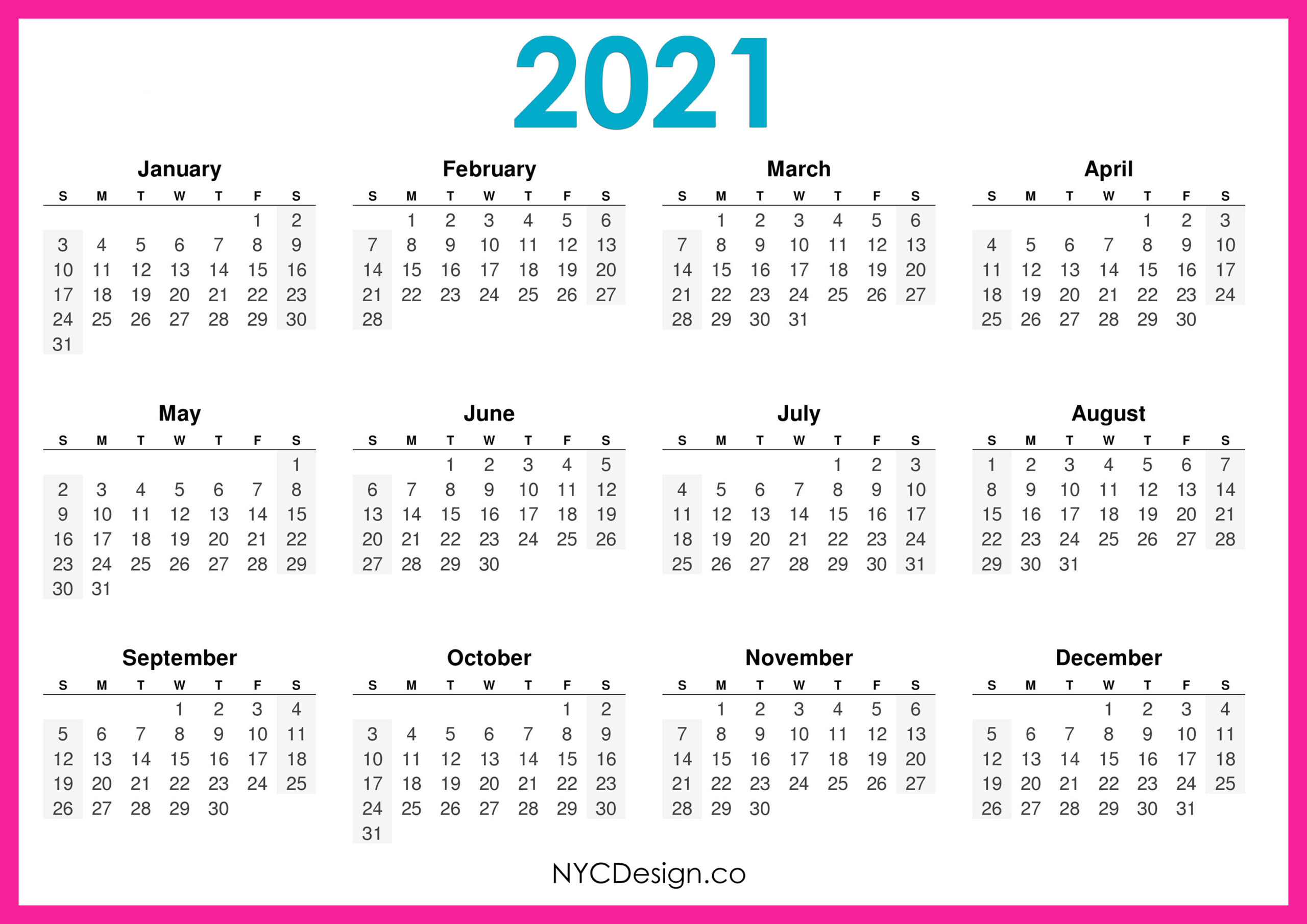 Free 2021 Yearly Calender Template / 12 Month Colorful