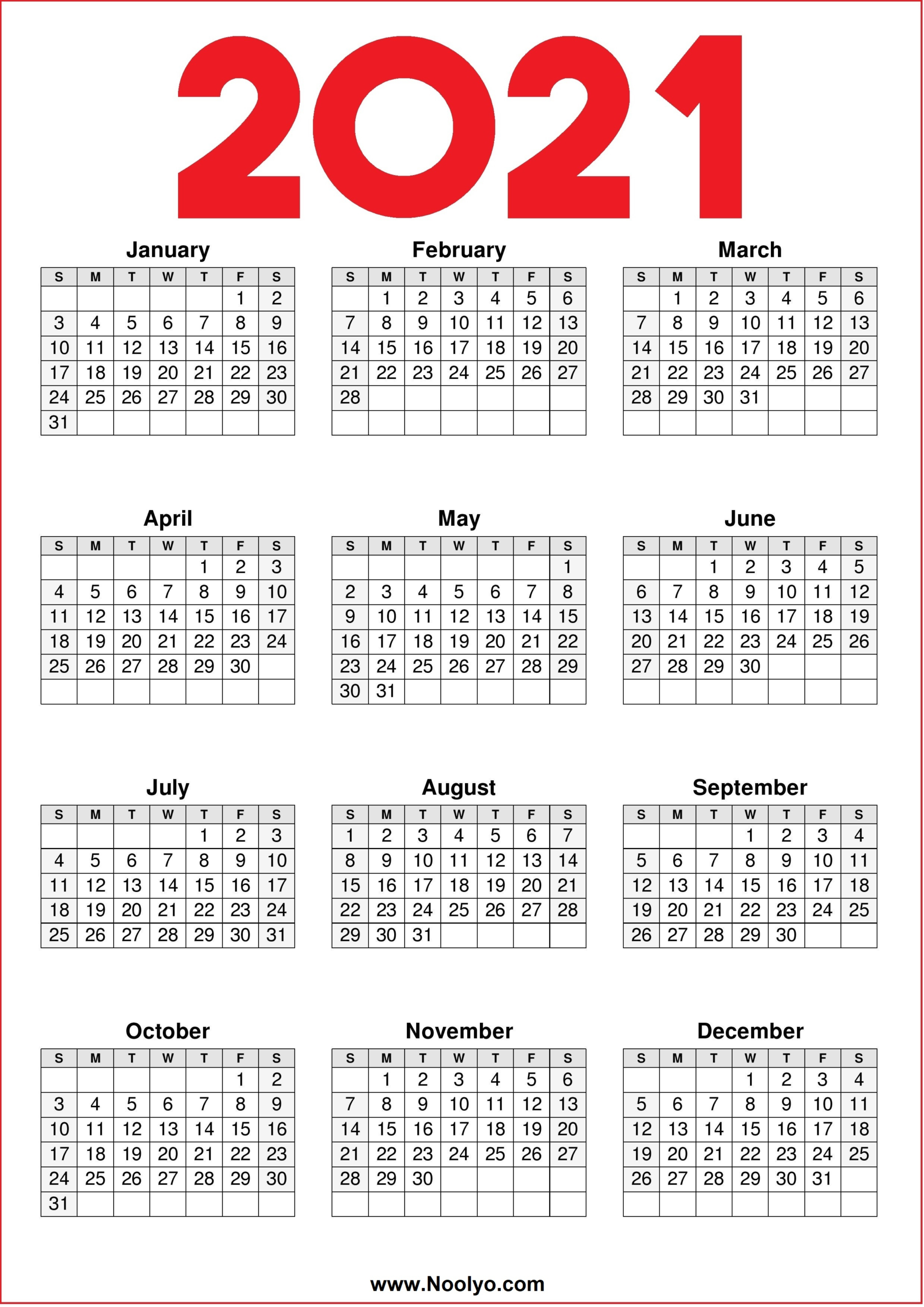 Free 2021 Yearly Calender Template : Calendar 2021