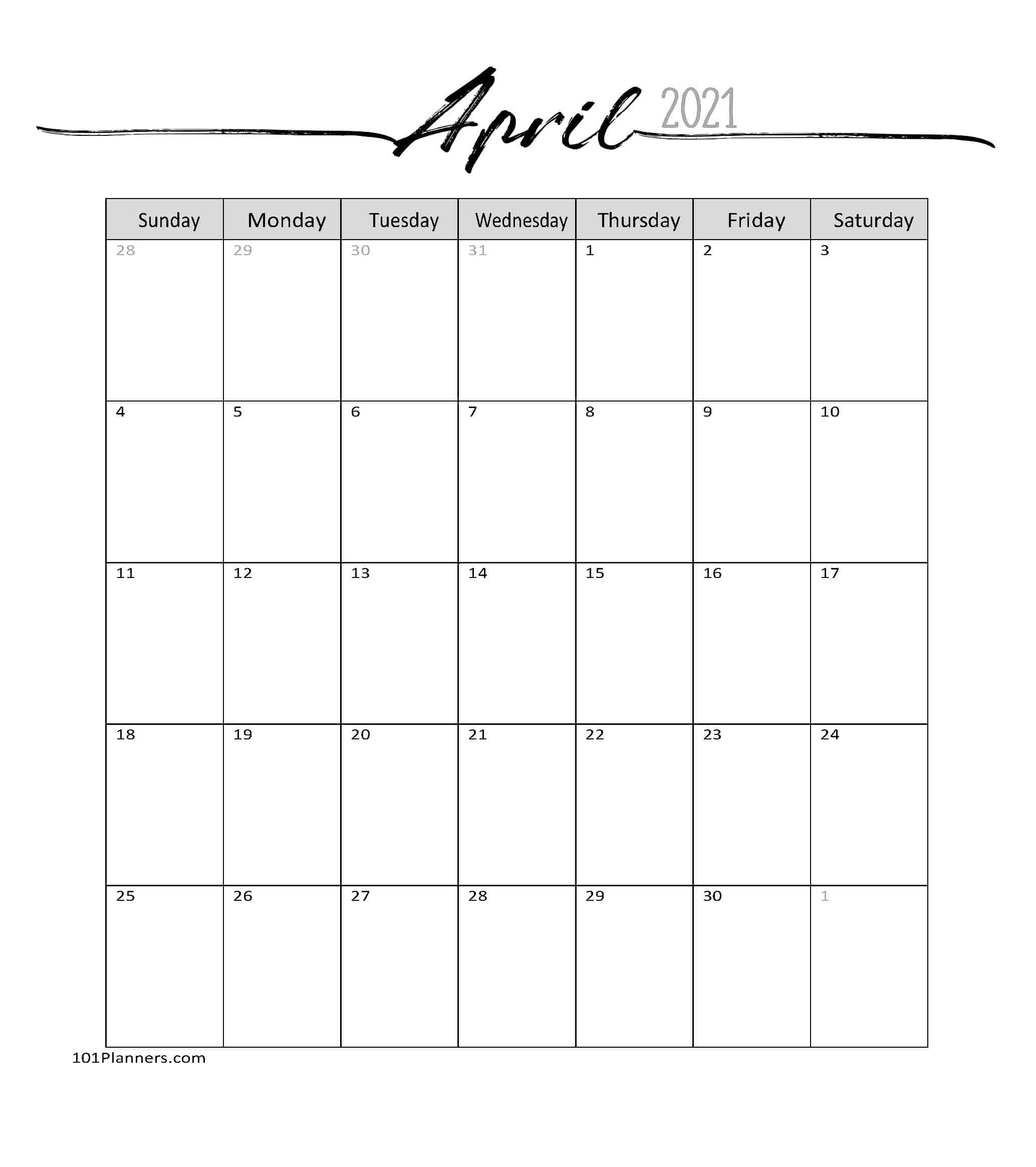 Free April 2021 Calendars | 101 Different Designs And Borders