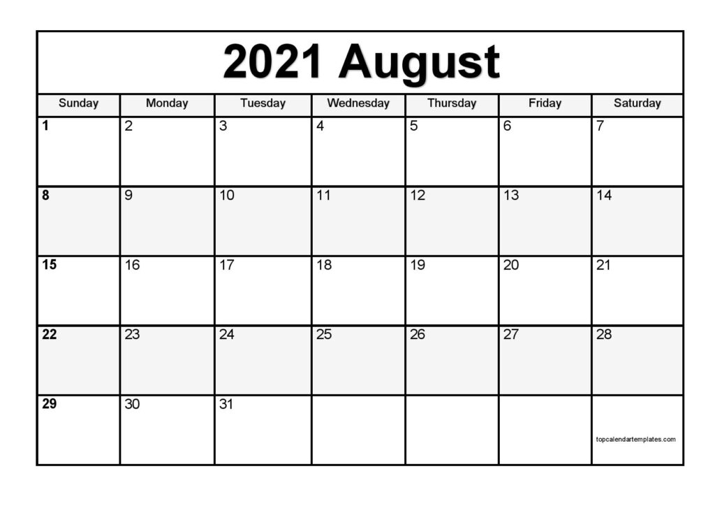 Free August 2021 Printable Calendar - Monthly Templates