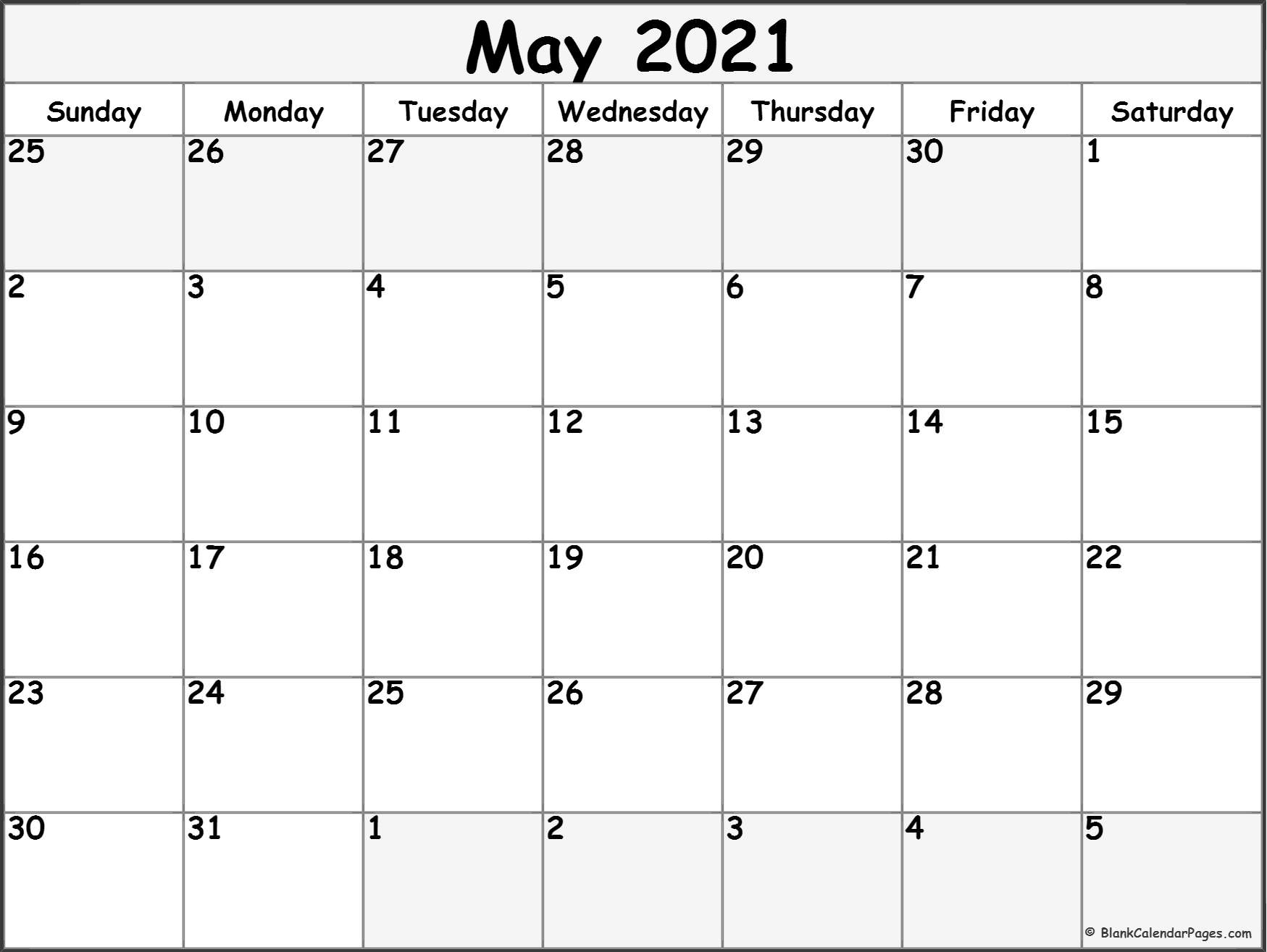 Free Blank Printable Monthly Calendar 2021   Calendar Printables Free Blank