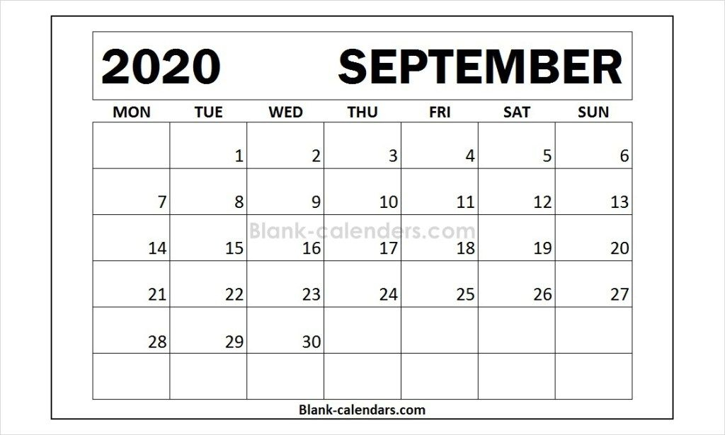 Free Blank September Calendar 2020 | 2021 Calendar