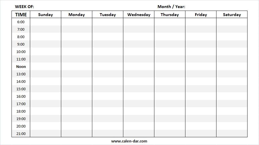 Free Blank Weekly Calendar Templates | Printable Weekly