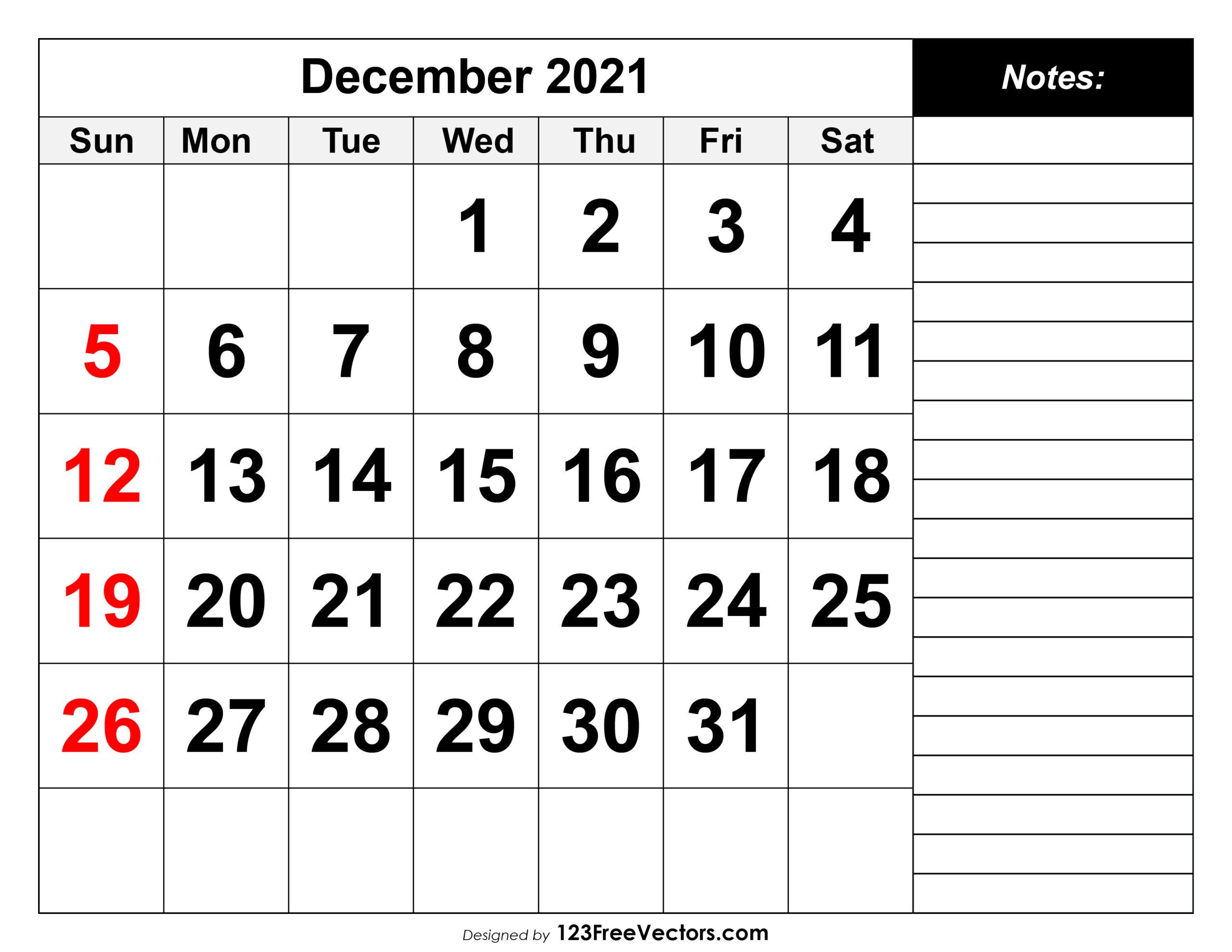 Free December 2021 Printable Calendar