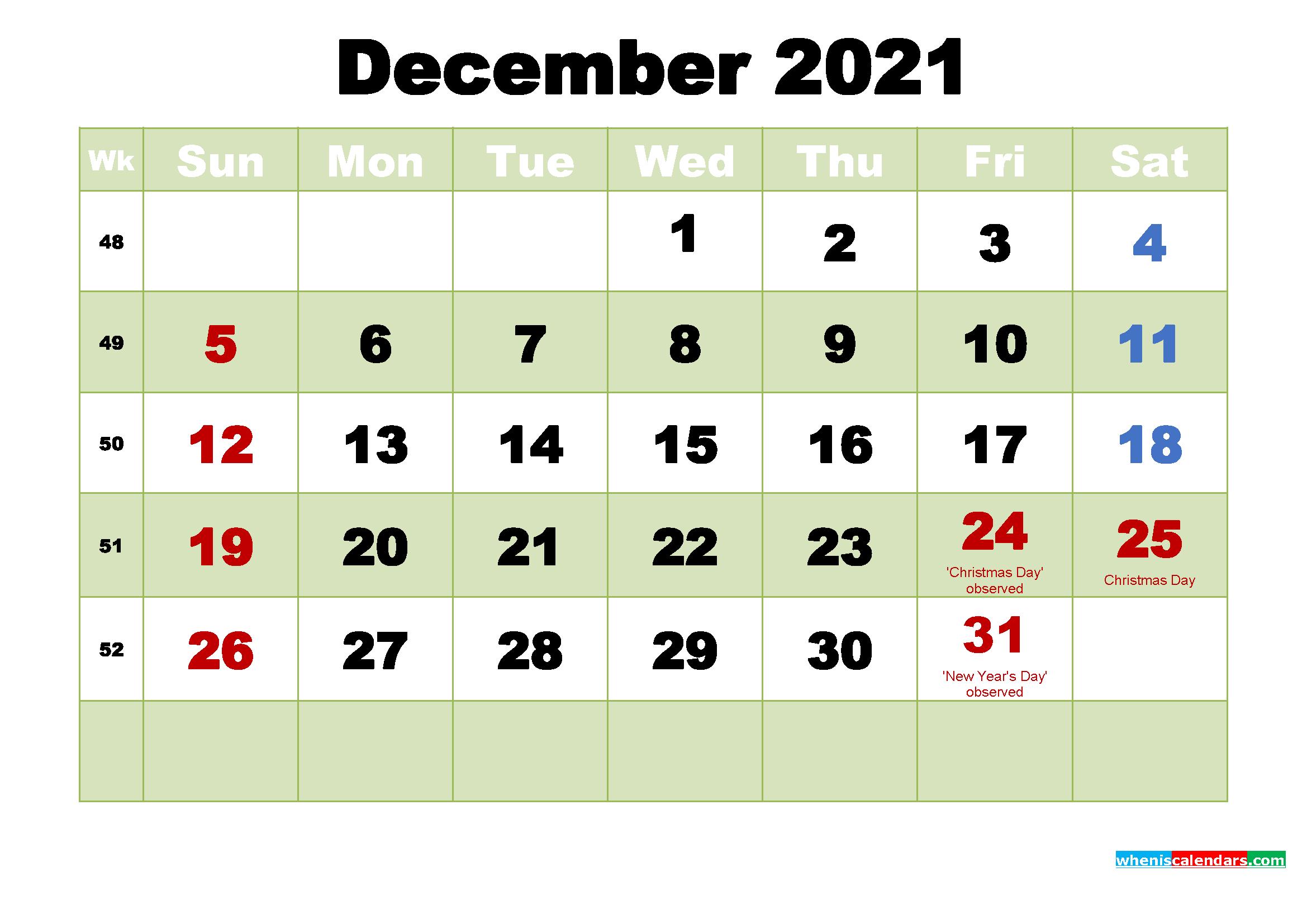 Free December 2021 Printable Calendar Template Word, Pdf - Free Printable 2021 Calendar With