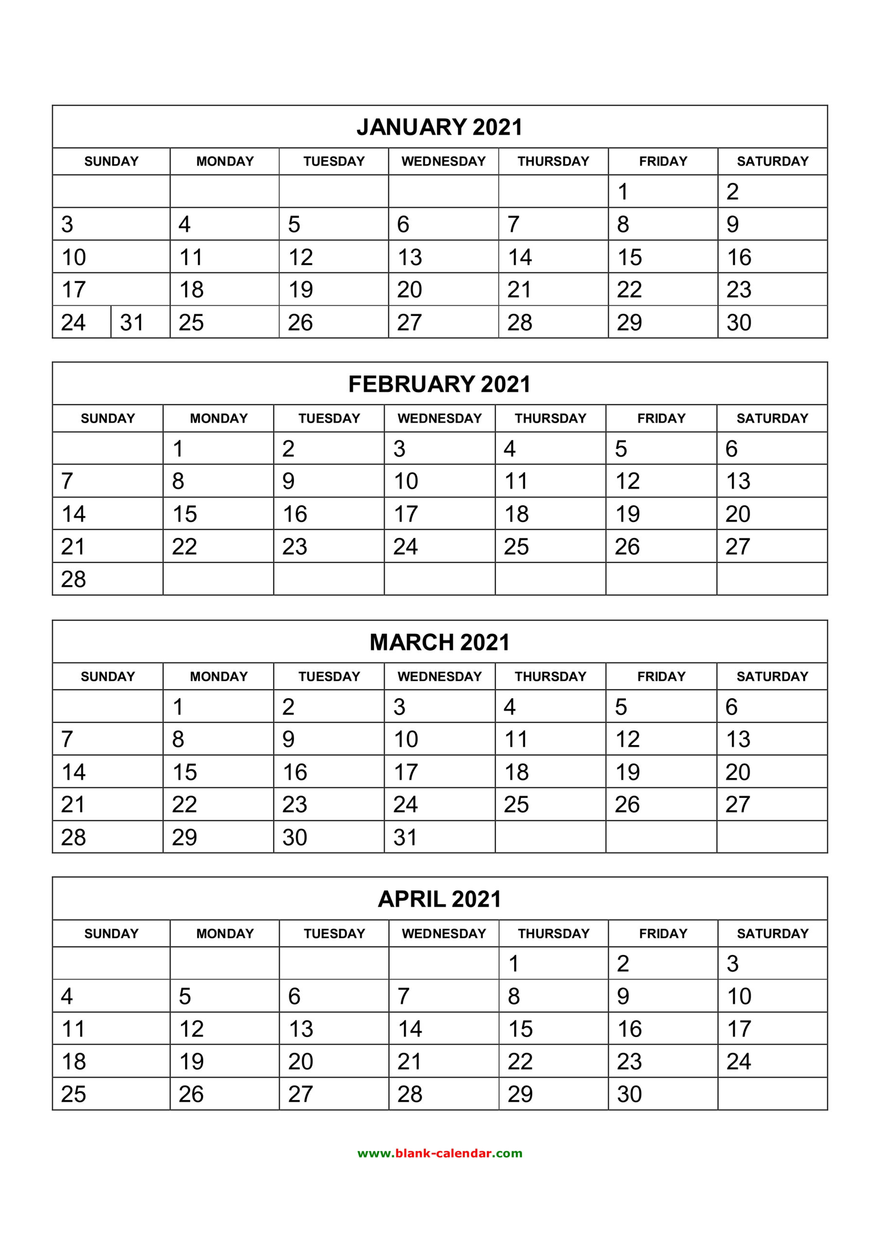 Free Download Printable Calendar 2021, 4 Months Per Page