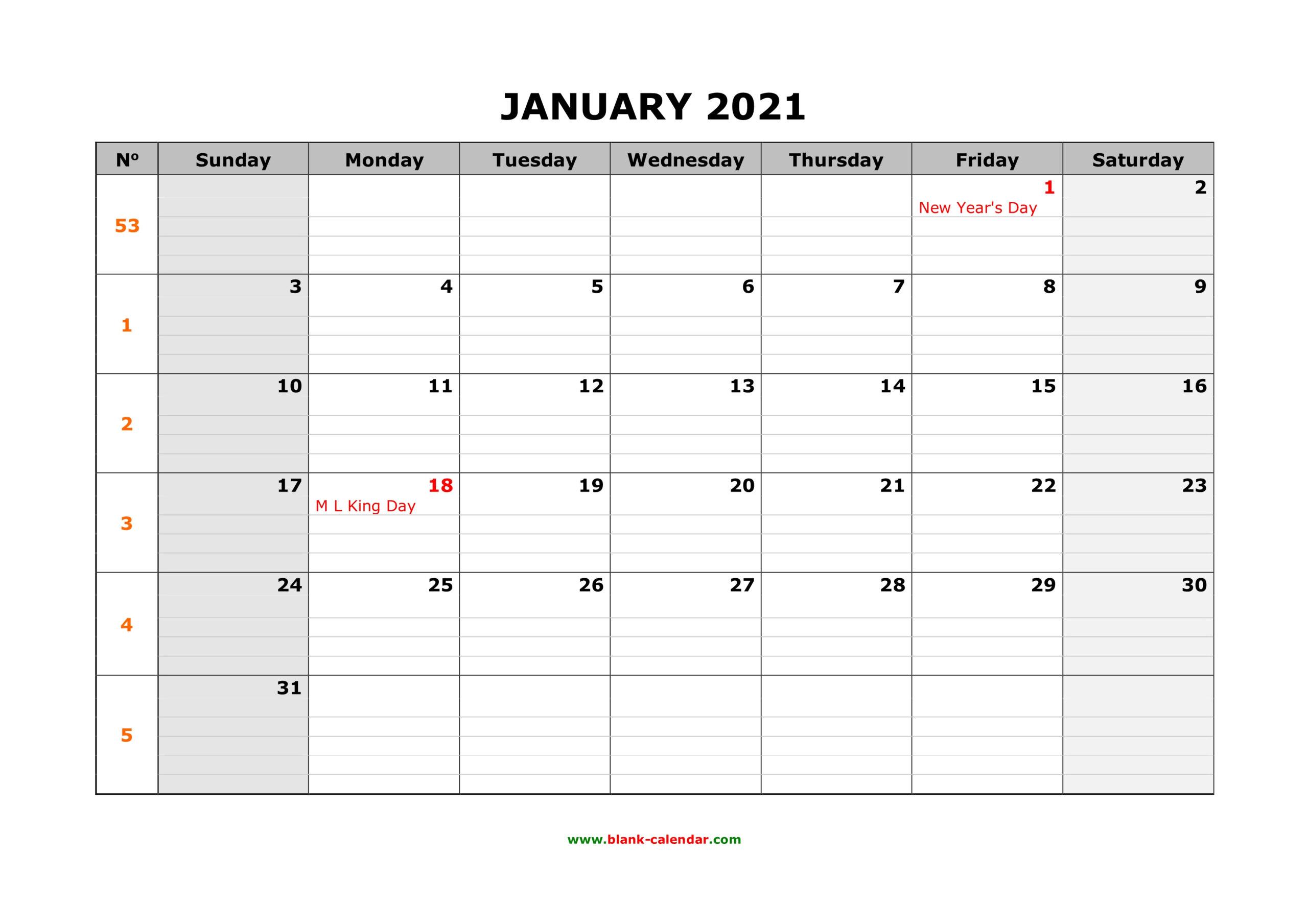 Free Download Printable Calendar 2021, Large Box Grid