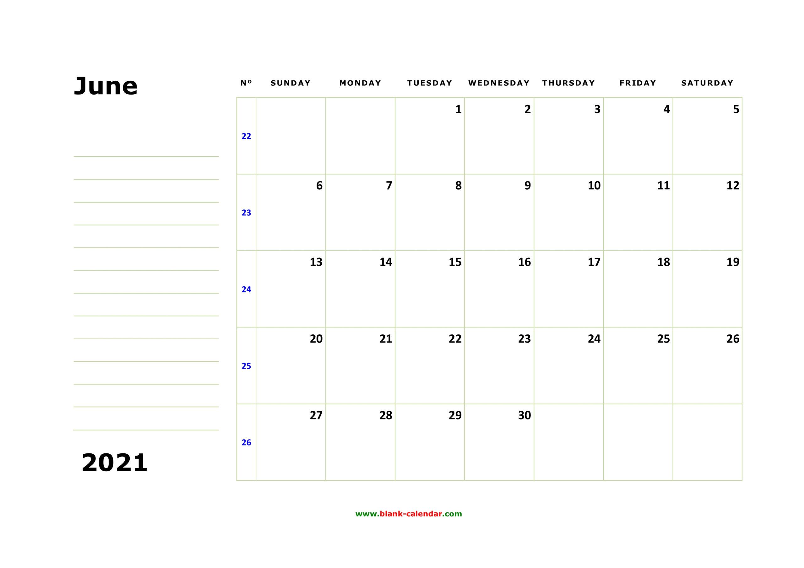 Free Download Printable June 2021 Calendar, Large Box