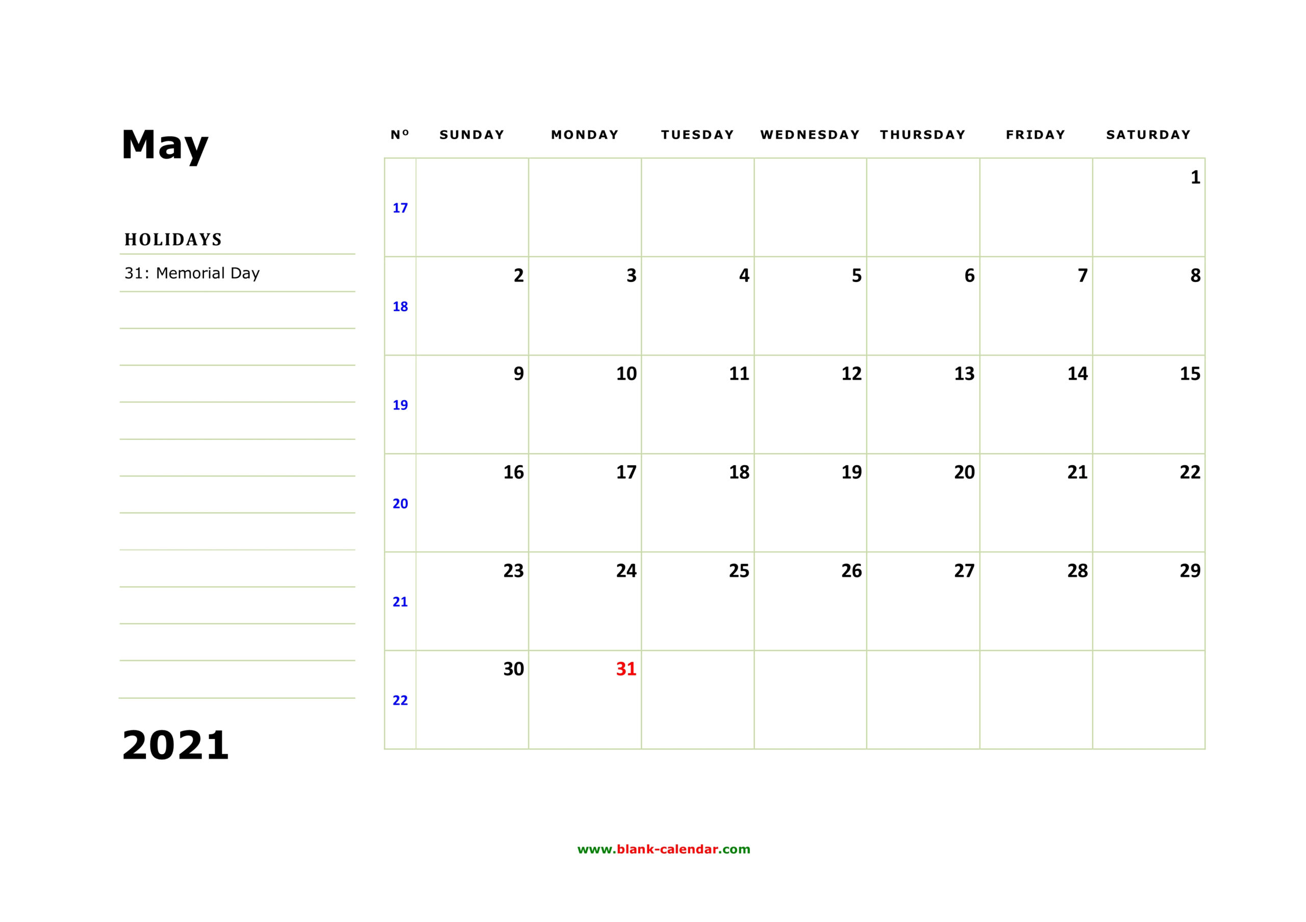 Free Download Printable May 2021 Calendar, Large Box, Holidays Listed, Space For Notes