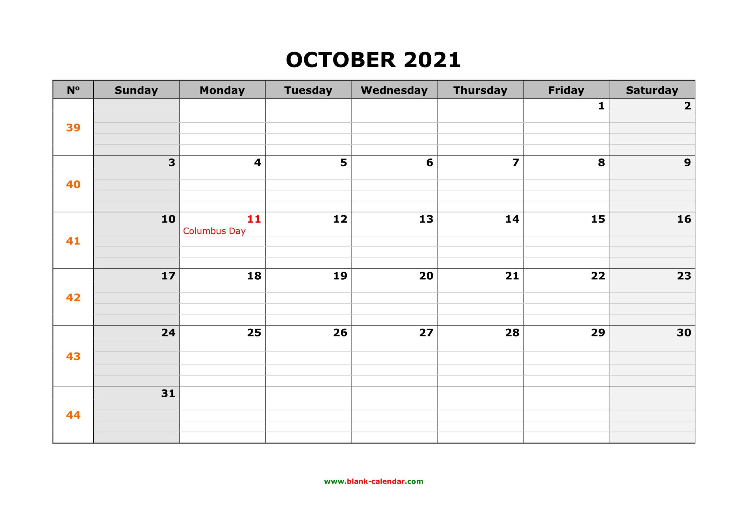 Free Download Printable October 2021 Calendar, Large Box
