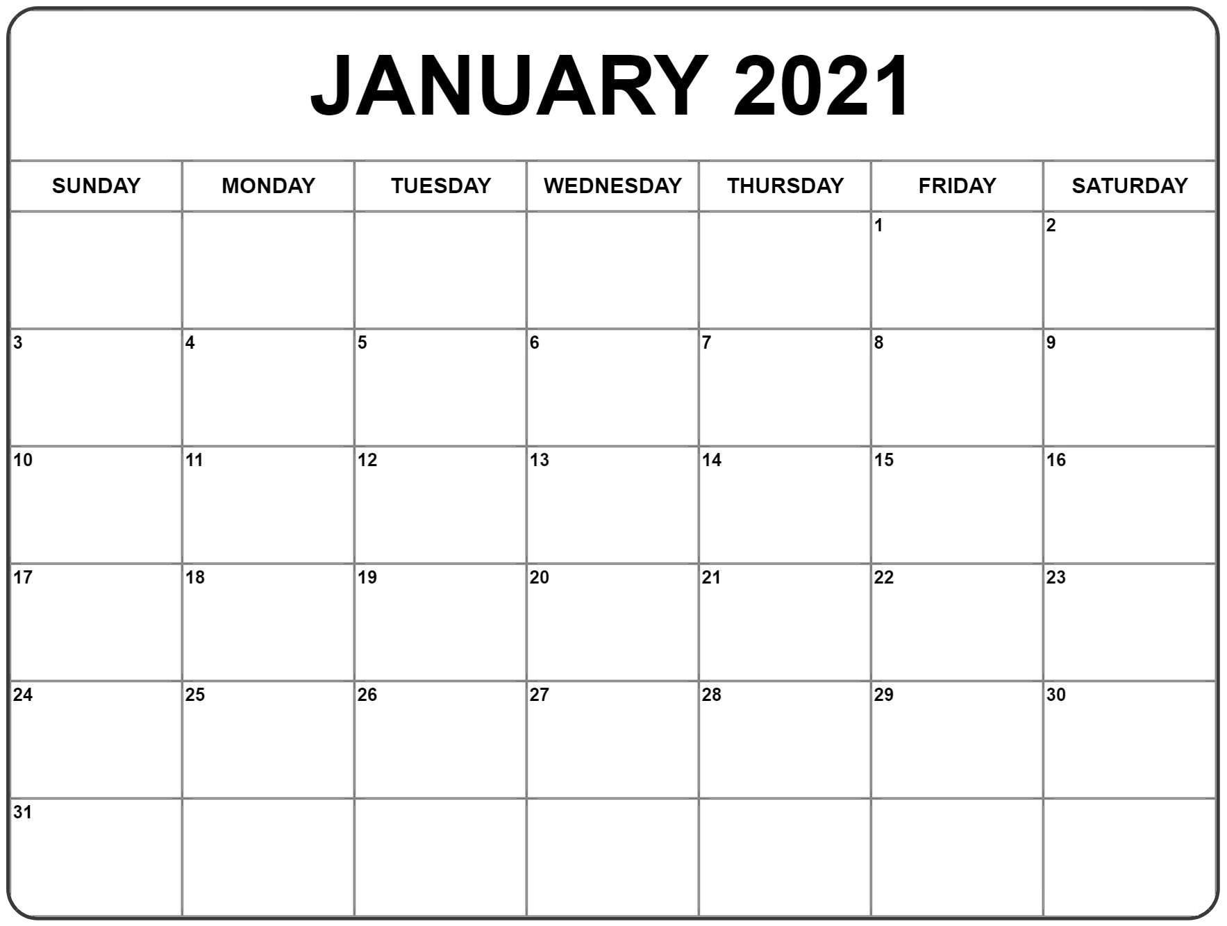 Free Downloadable 2021 Word Calendar / Microsoft Word