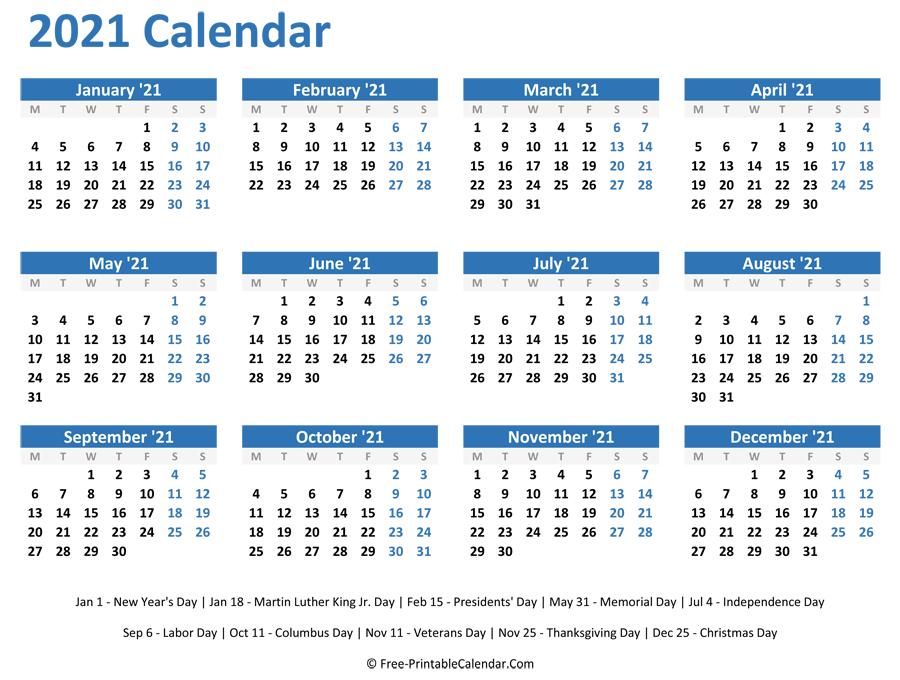 Free Downloadable 2021 Word Calendar - Take 2021 Printable