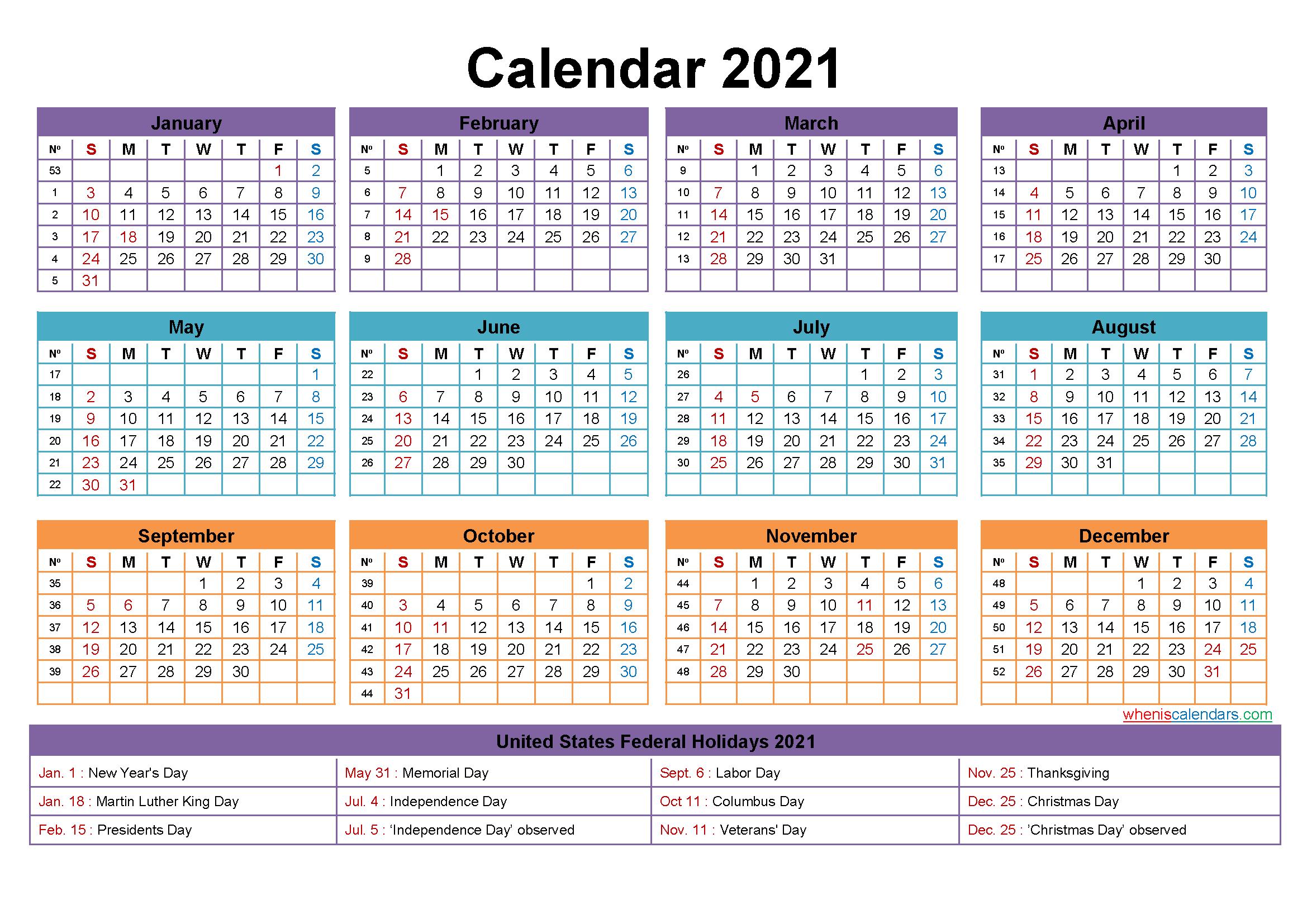 Free Editable 2021 Calendars In Word : Free Printable