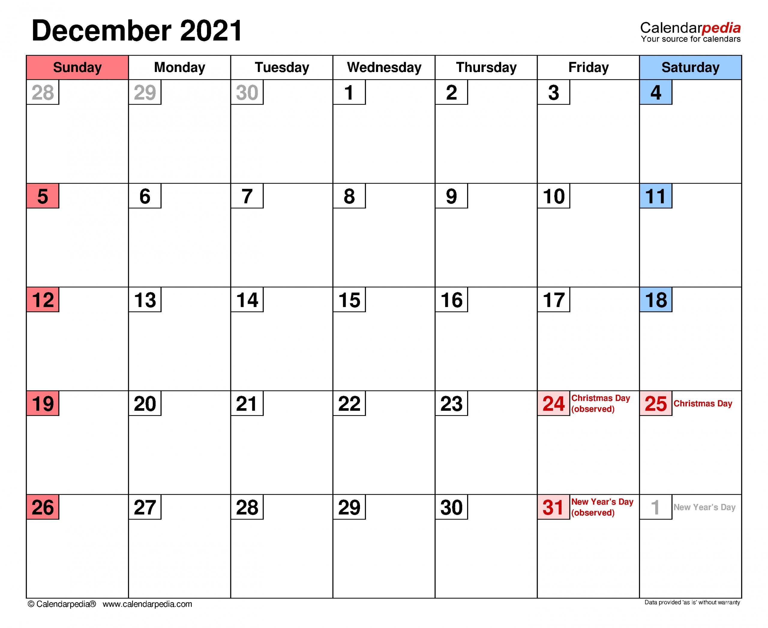 December Calendar 2021 Printable