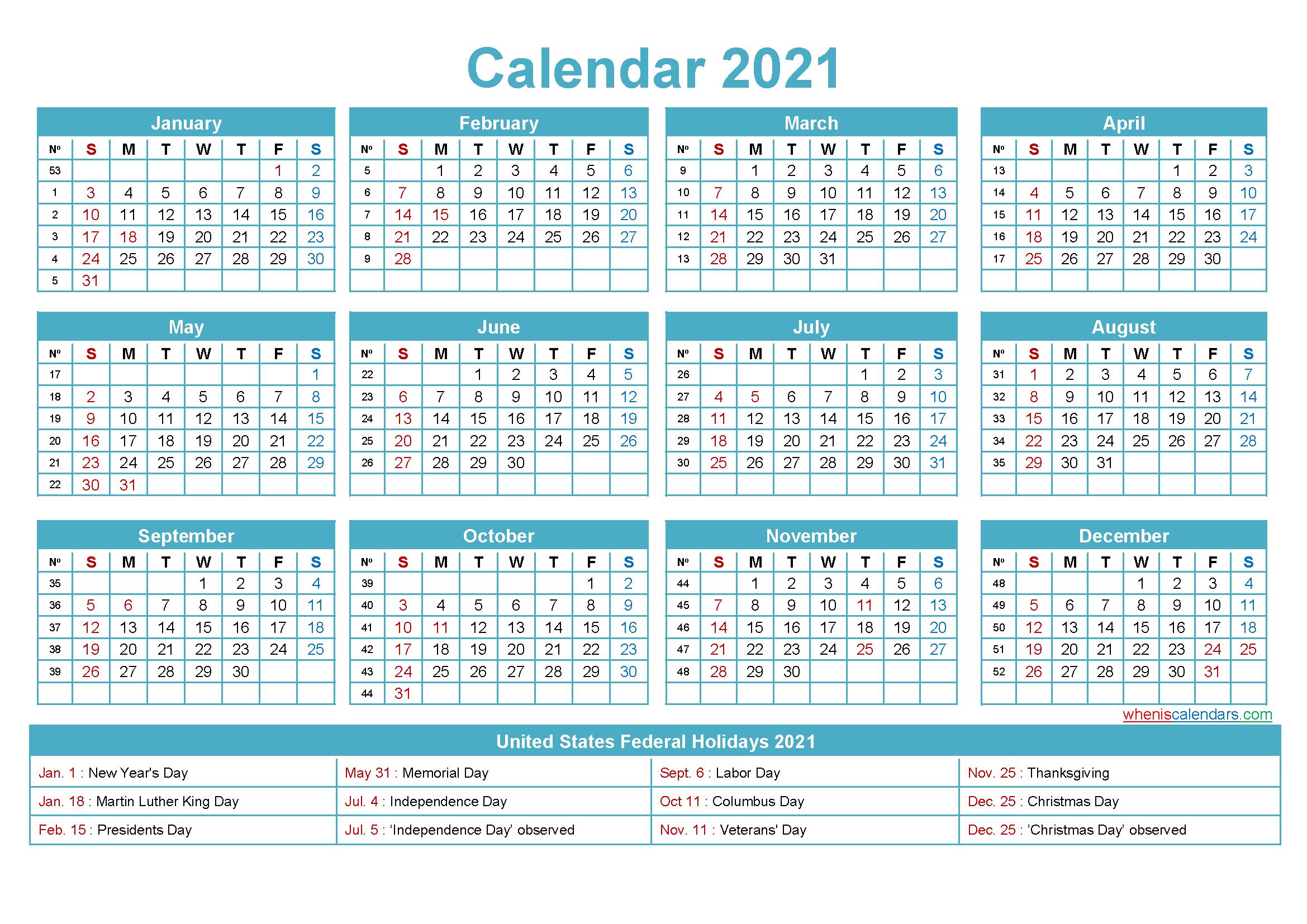 Free Editable Printable Calendar 2021 - Template No.ep21Y5