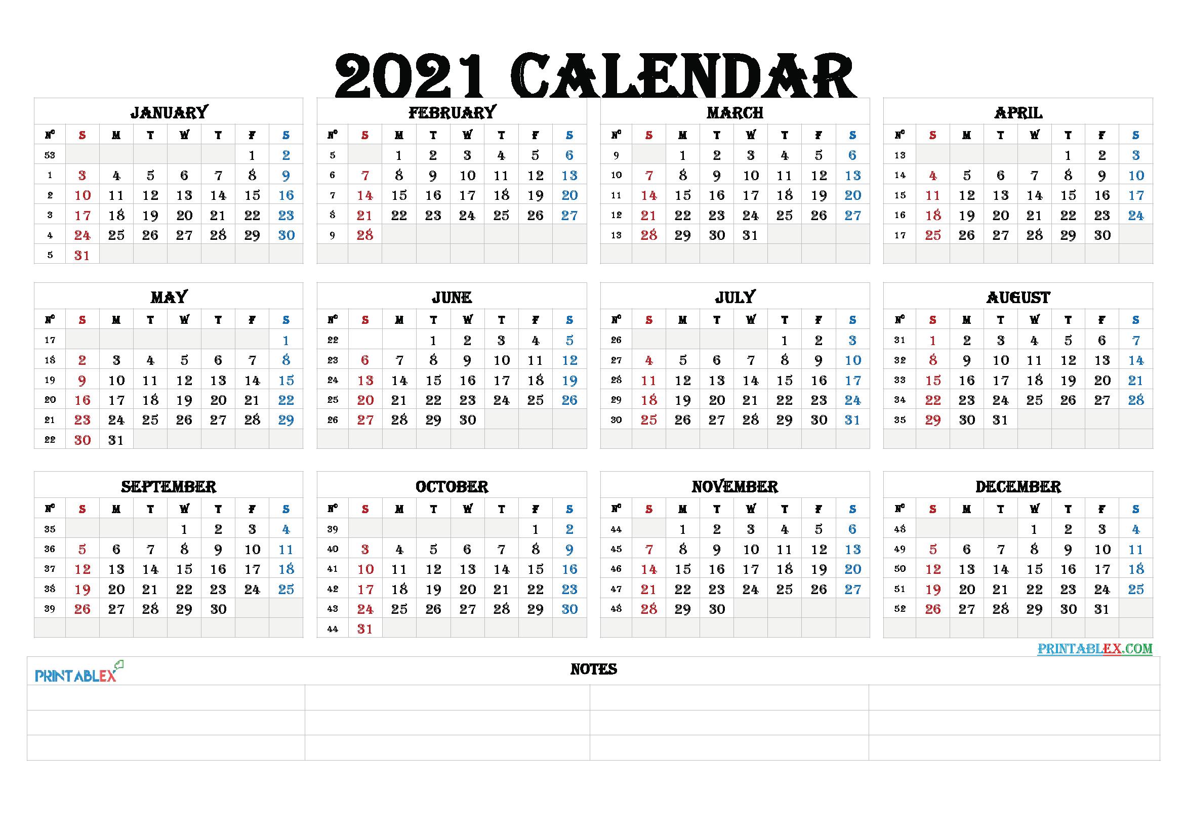 Free Editable Weekly 2021 Calendar : 2021 Editable