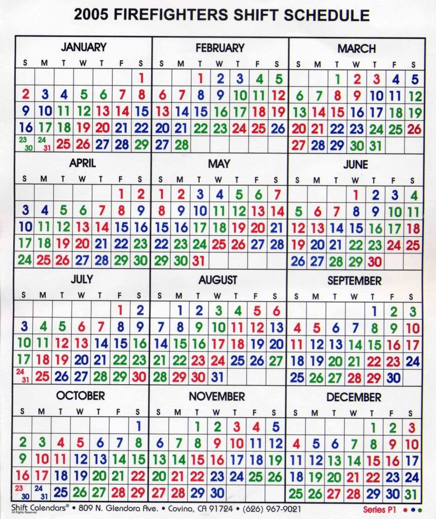 Free Firefighter Printanle Shift Calendars 2020 | Example