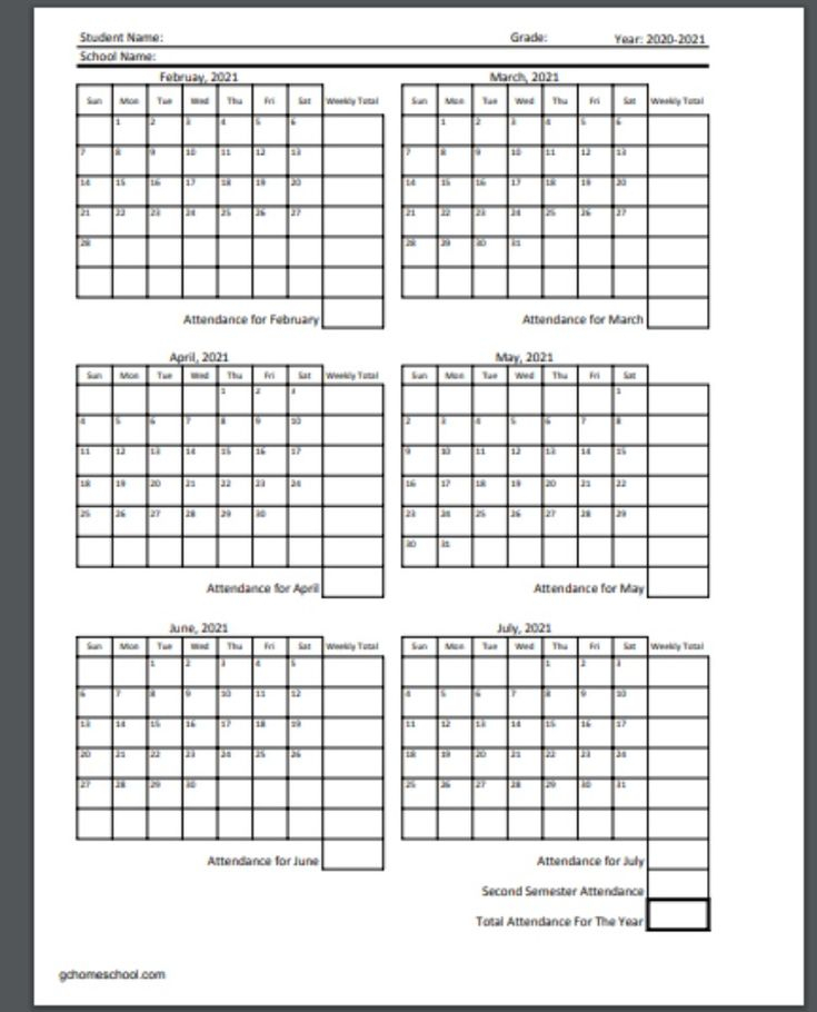 Free Homeschool Attendance Calendars 2020-2021 In 2021