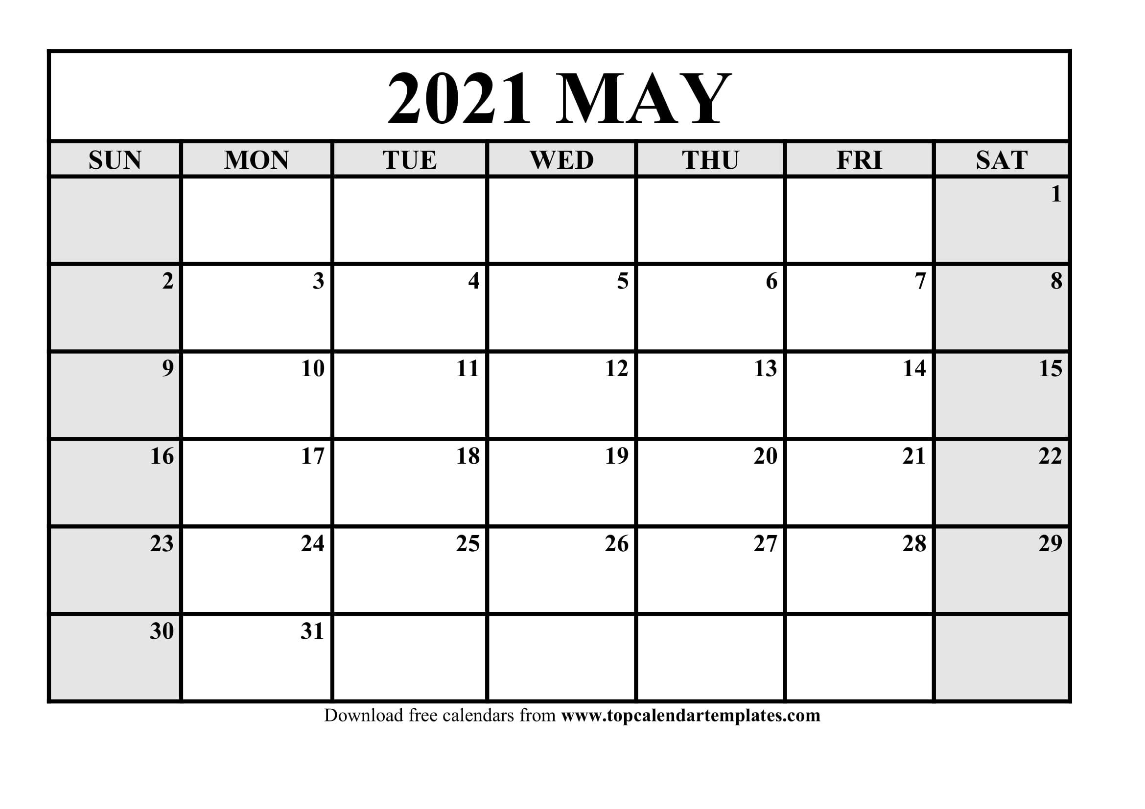 Free May 2021 Printable Calendar In Editable Format