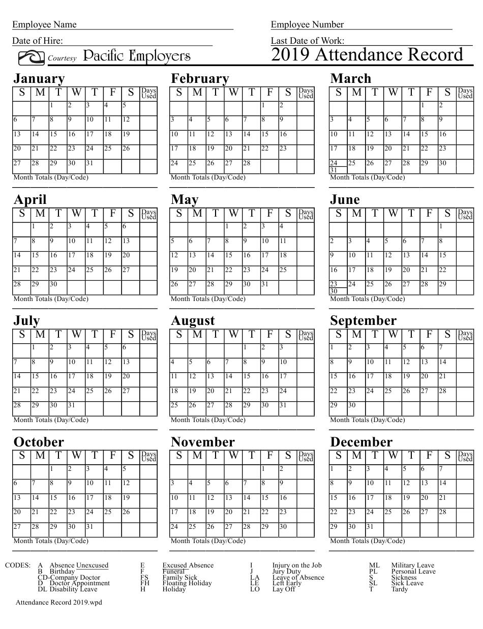 Free Printable 2020 Employee Attendance Calendar