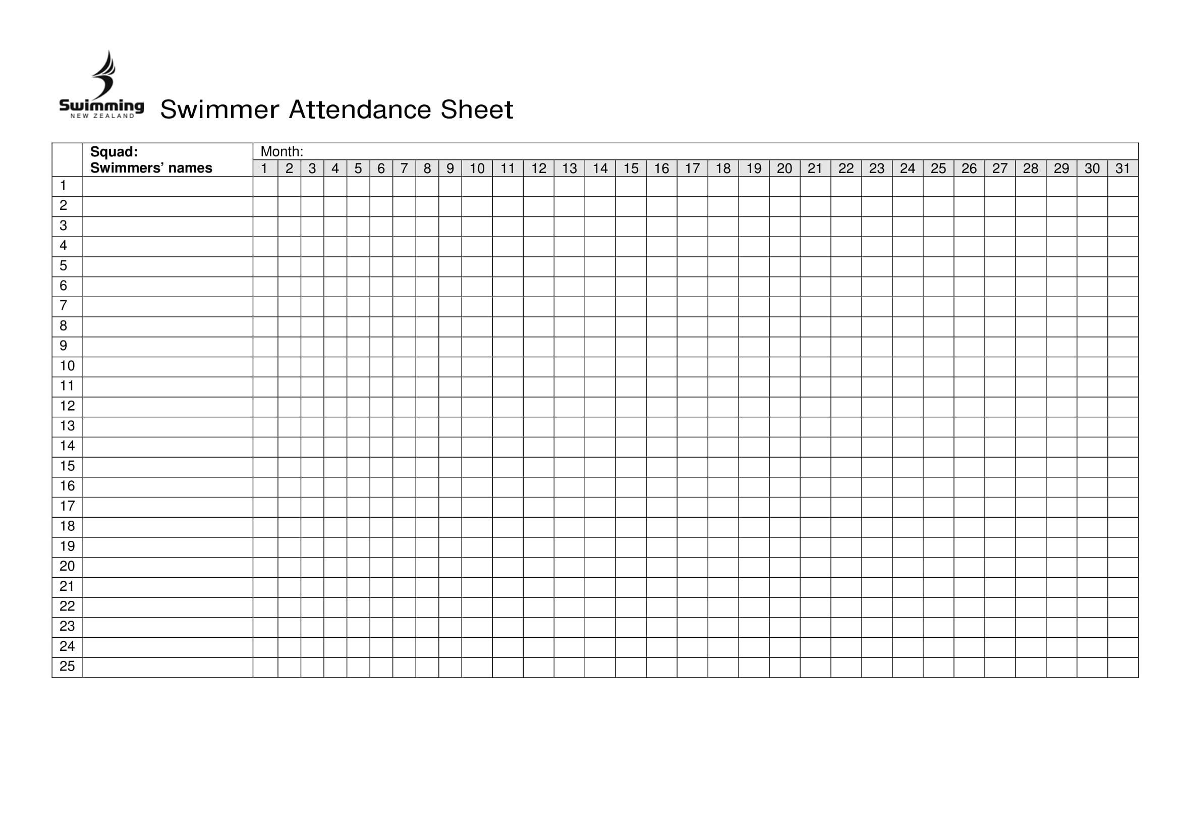 Free Printable 2020 Employee Attendance Sheet - Template