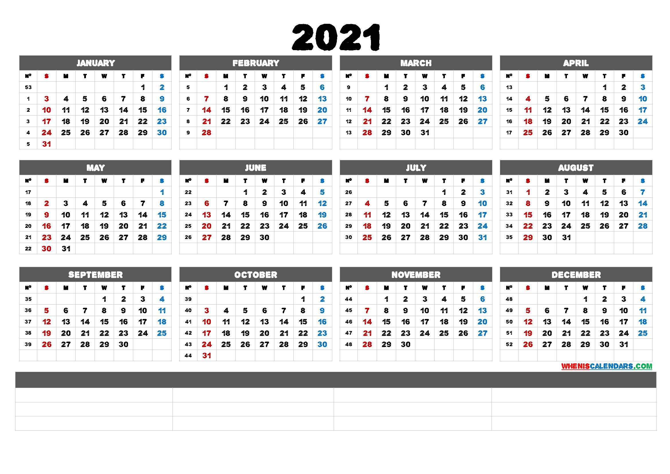Free Printable 2021 Calendar By Month (6 Templates)