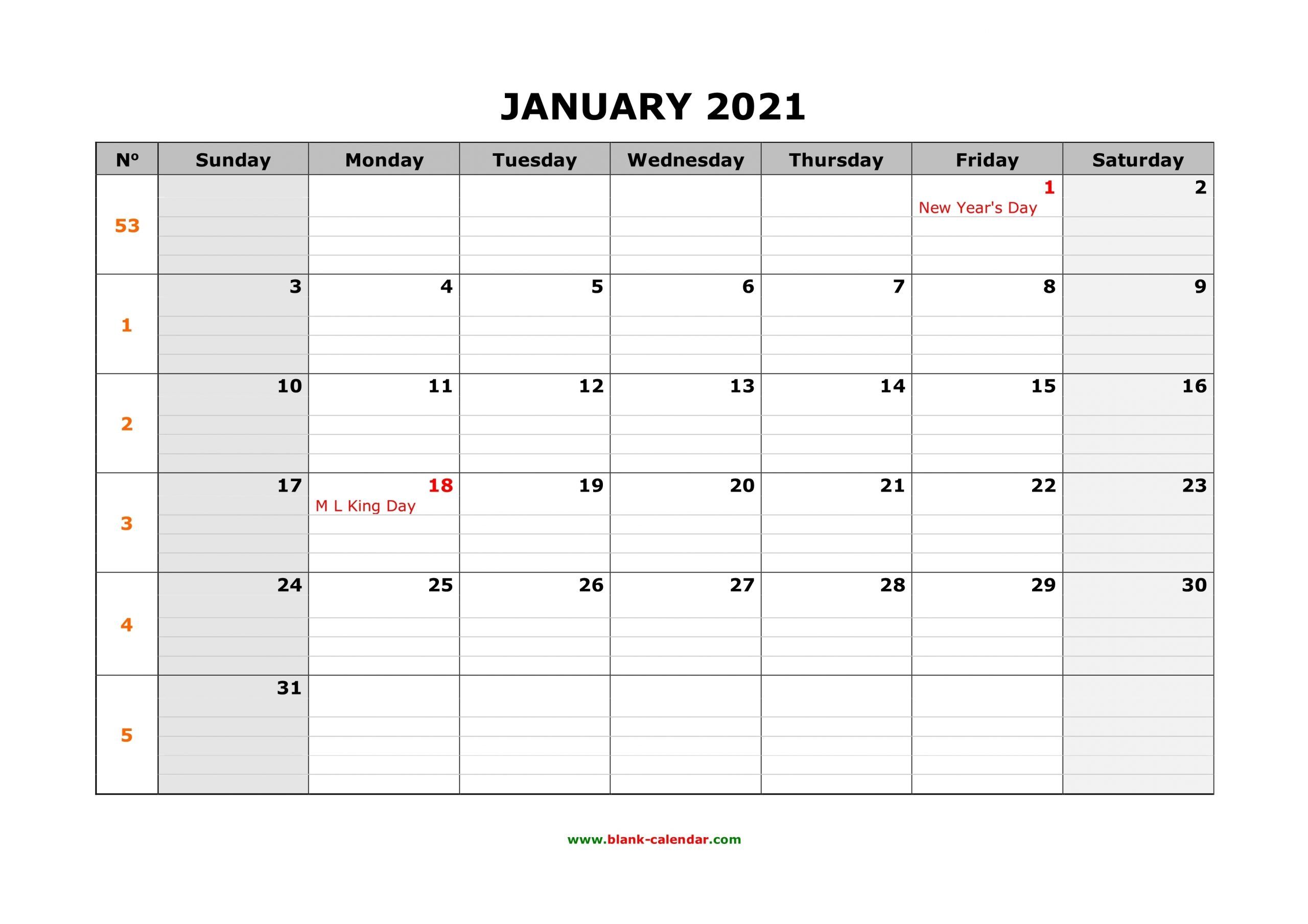 Free Printable 2021 Calendar Monthly Planner Lined