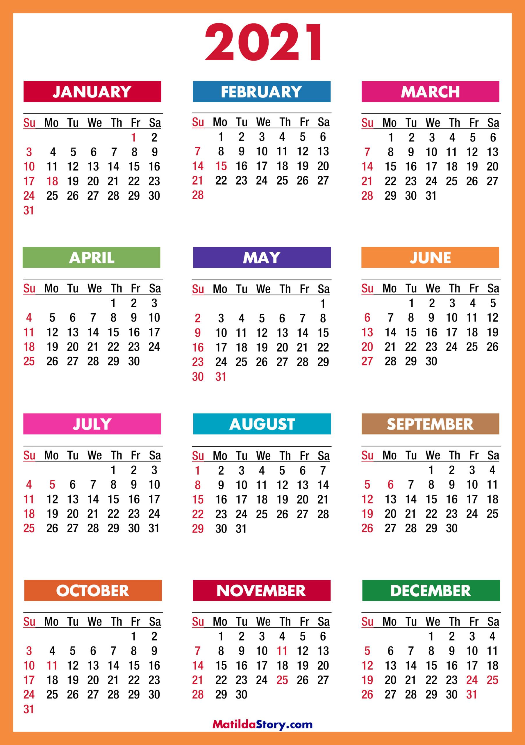 Free Printable 2021 Calendar With Holidays Usa   2021