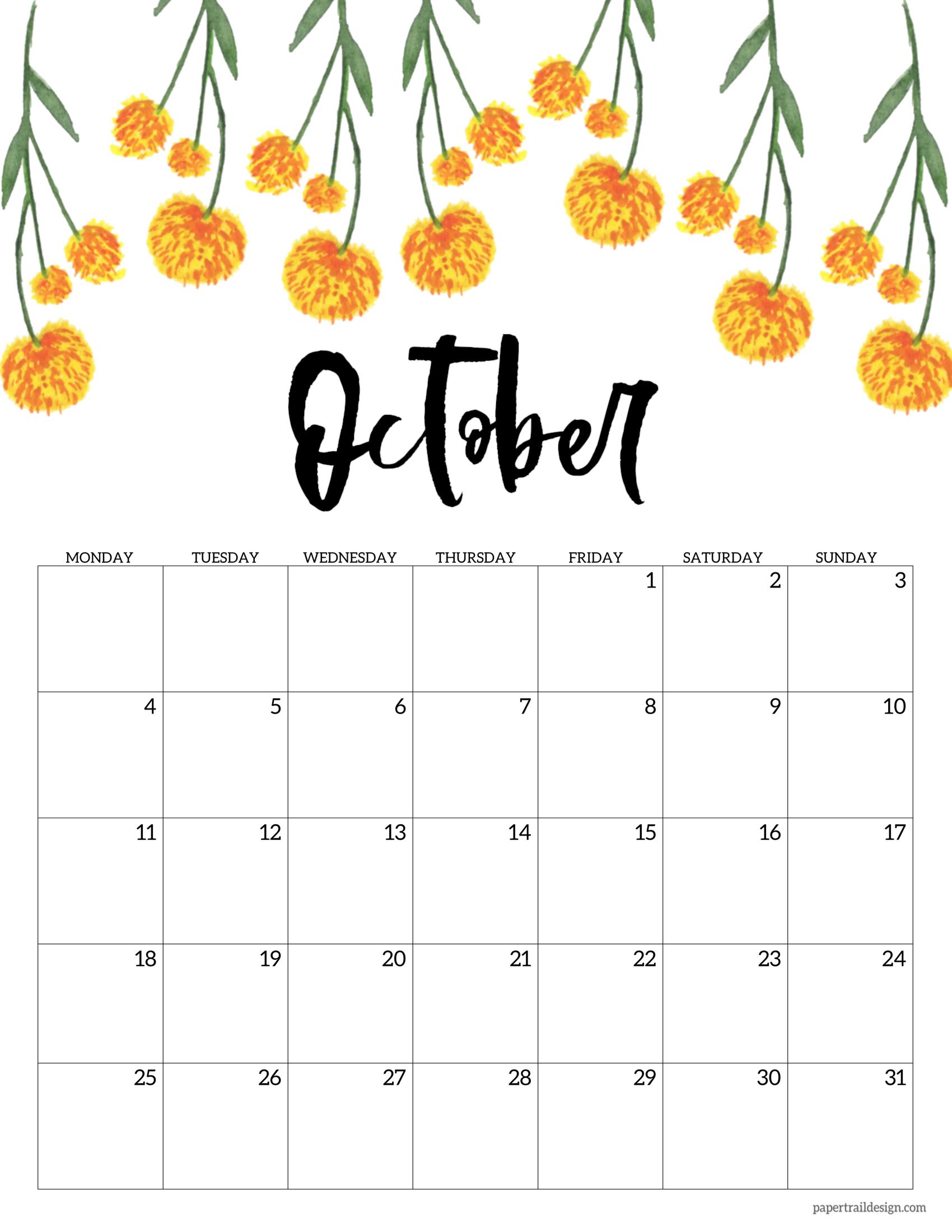Free Printable 2021 Floral Calendar - Monday Start | Paper