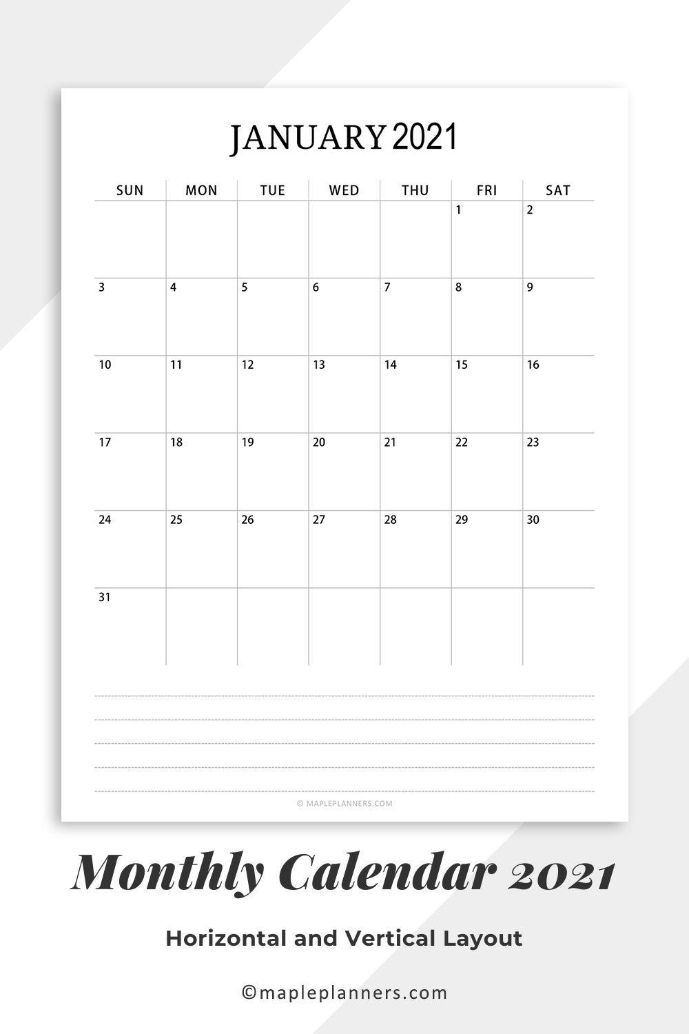 Free Printable 2021 Monthly Calendar Pdf Template In 2020