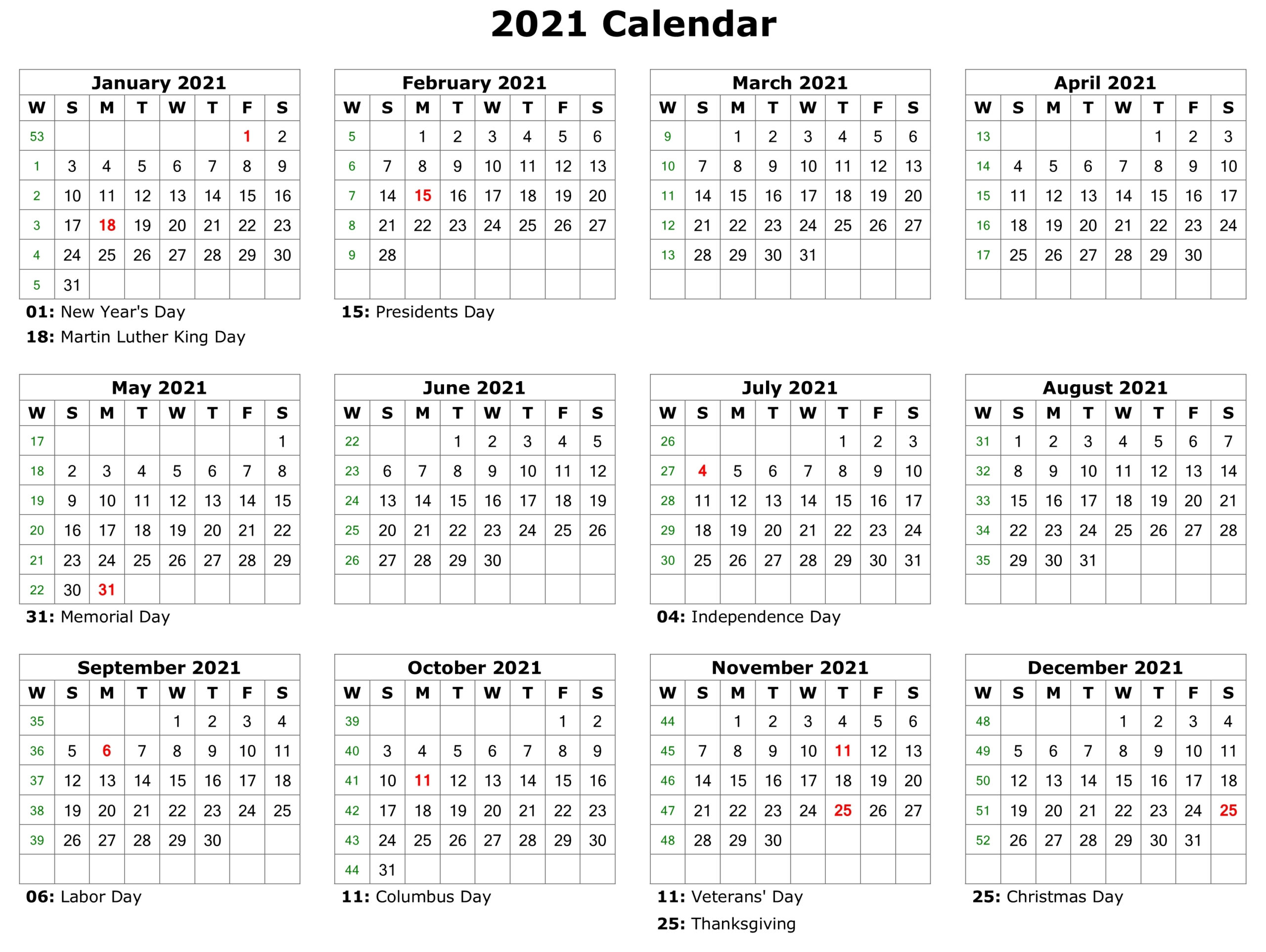 Free Printable 2021 Monthly Calendar With Holidays Word