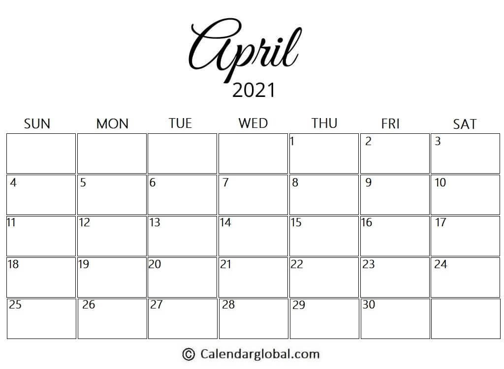 Free Printable April 2021 Calendar: 8 Cute & Elegant