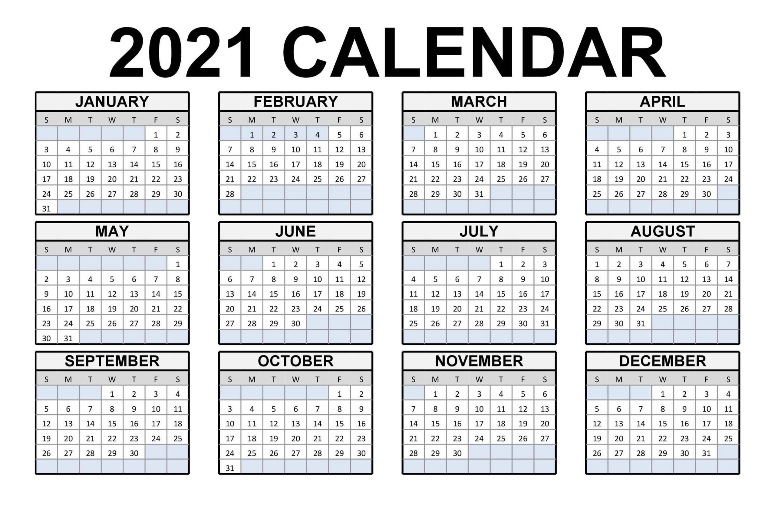 Free Printable Calendar 2021 In Pdf Word Excel Template