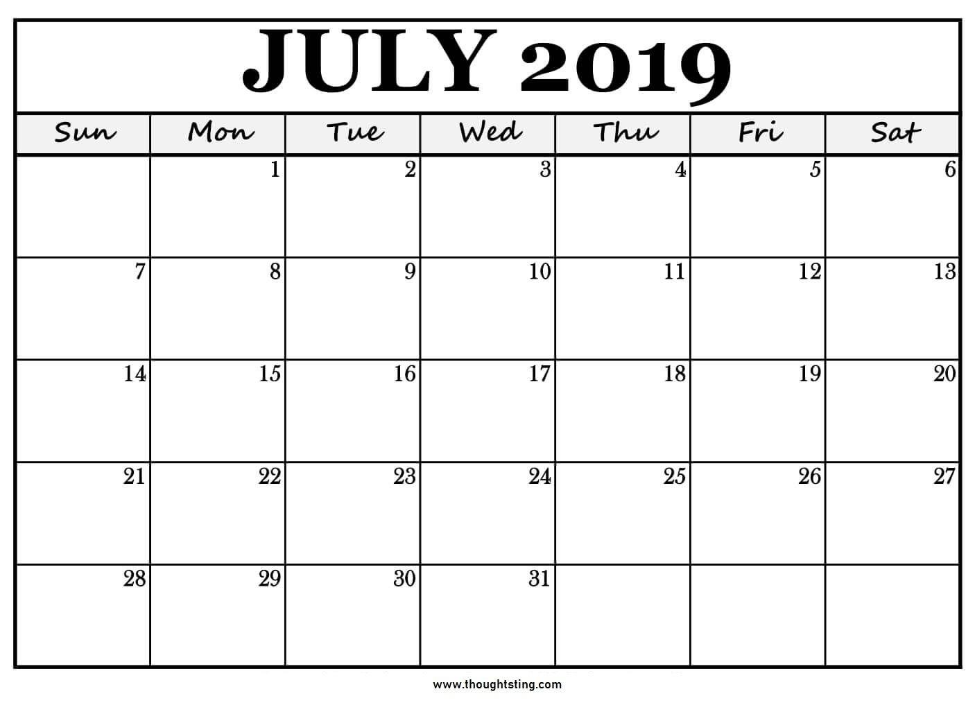 Free Printable Calendar Big Boxes | Ten Free Printable