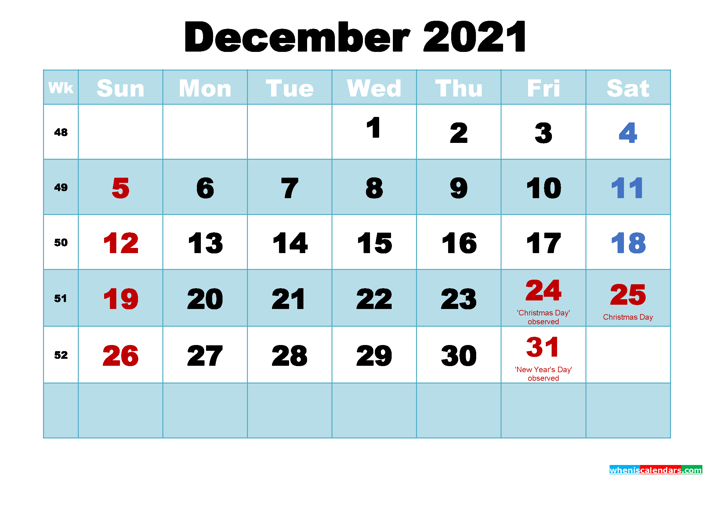 Free Printable Calendar For December 2021