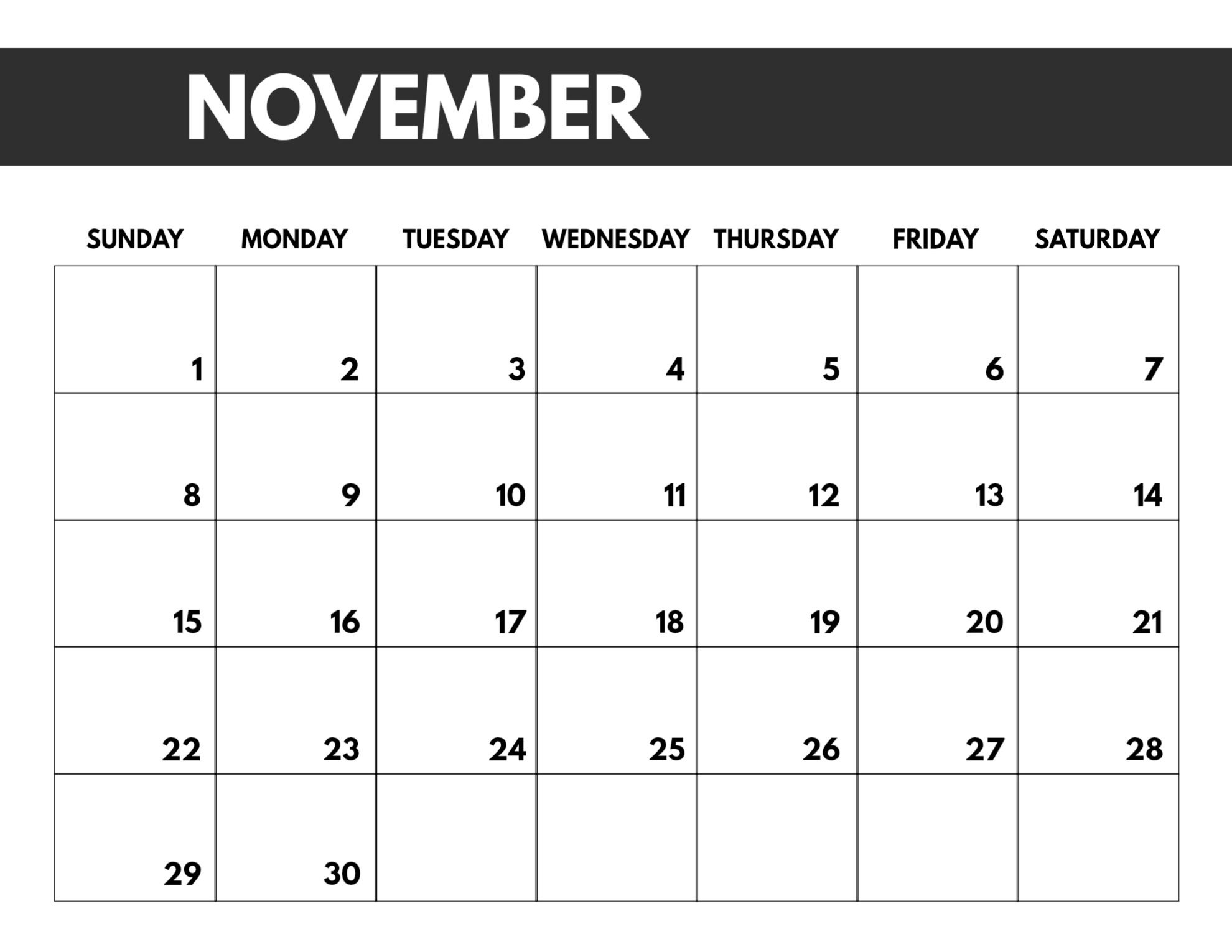 Free Printable Calenders With Big Squares