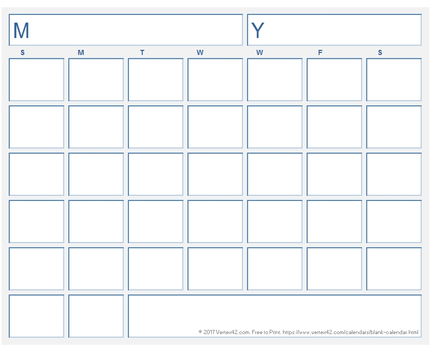 Free Printable Calendar With Extra Large Blocks Graphics | Calendar Template 2020