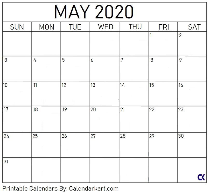 Free Printable Calendar With Extra Large Blocks Graphics