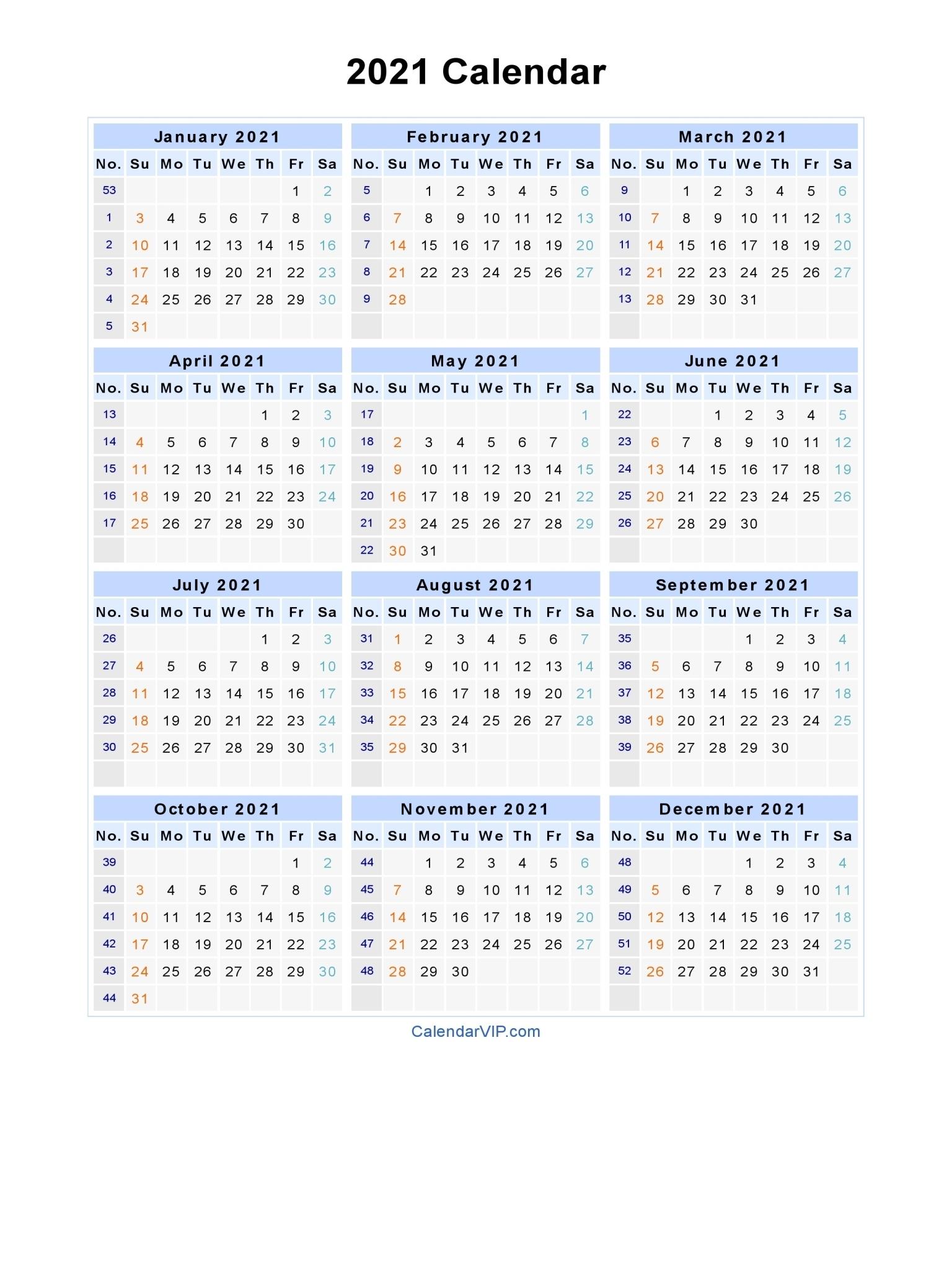 Free Printable Calendar Year 2021 | Ten Free Printable Calendar 2020-2021