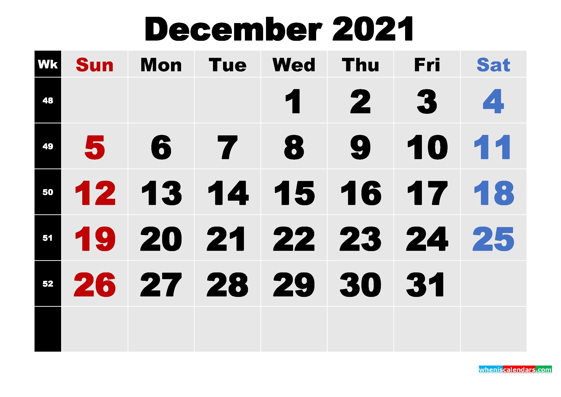 Free Printable December 2021 Calendar Template Word, Pdf - Free Printable 2020 Monthly Calendar