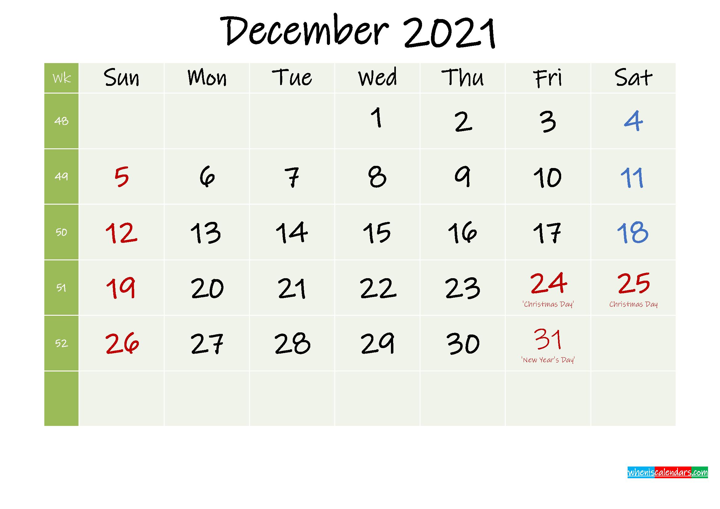 Free Printable December 2021 Calendar With Holidays