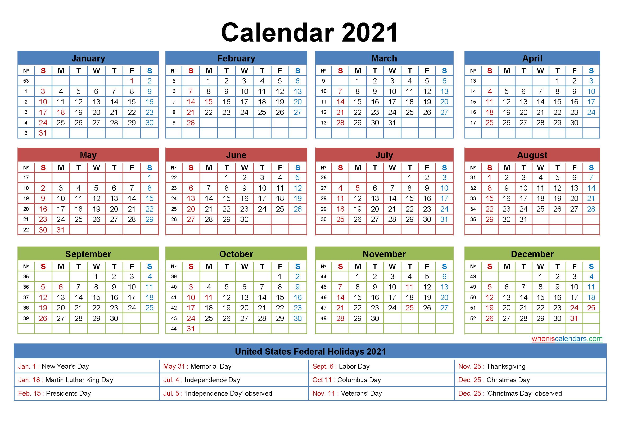 Free Printable Editable Calendar 2021 - Template No