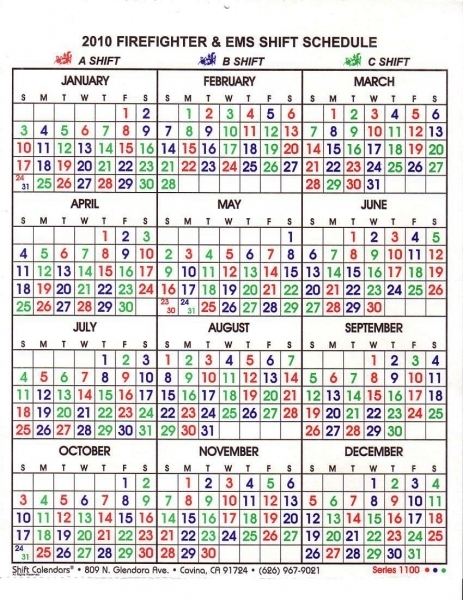 Free Printable Firefighter Shift Calander :-Free Calendar