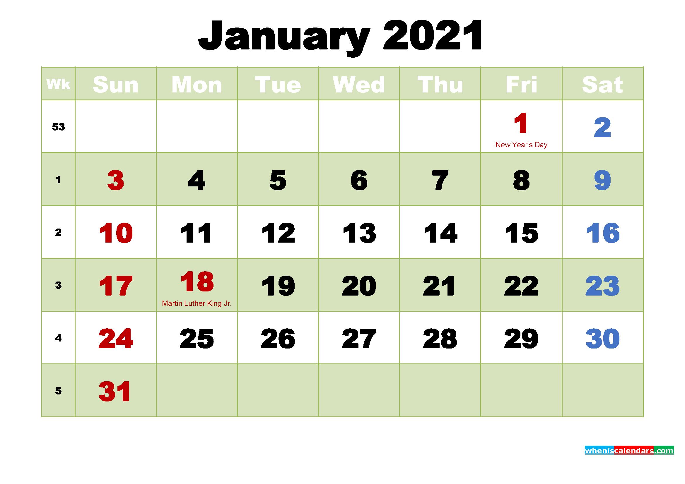 Free Printable January 2021 Calendar Wallpaper - 2011